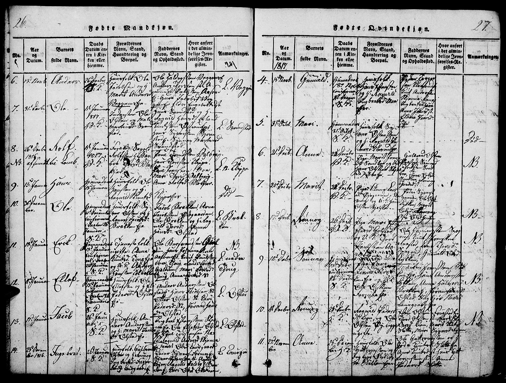 SAH, Vågå prestekontor, Ministerialbok nr. 3, 1815-1827, s. 26-27