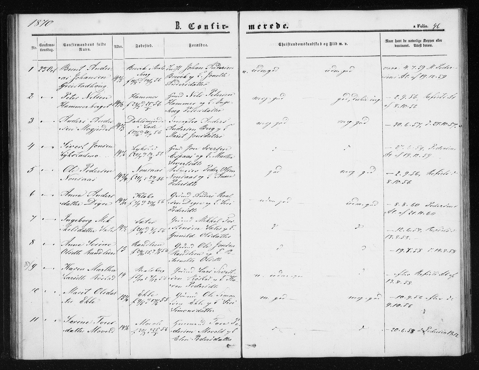 SAT, Ministerialprotokoller, klokkerbøker og fødselsregistre - Sør-Trøndelag, 608/L0333: Ministerialbok nr. 608A02, 1862-1876, s. 46