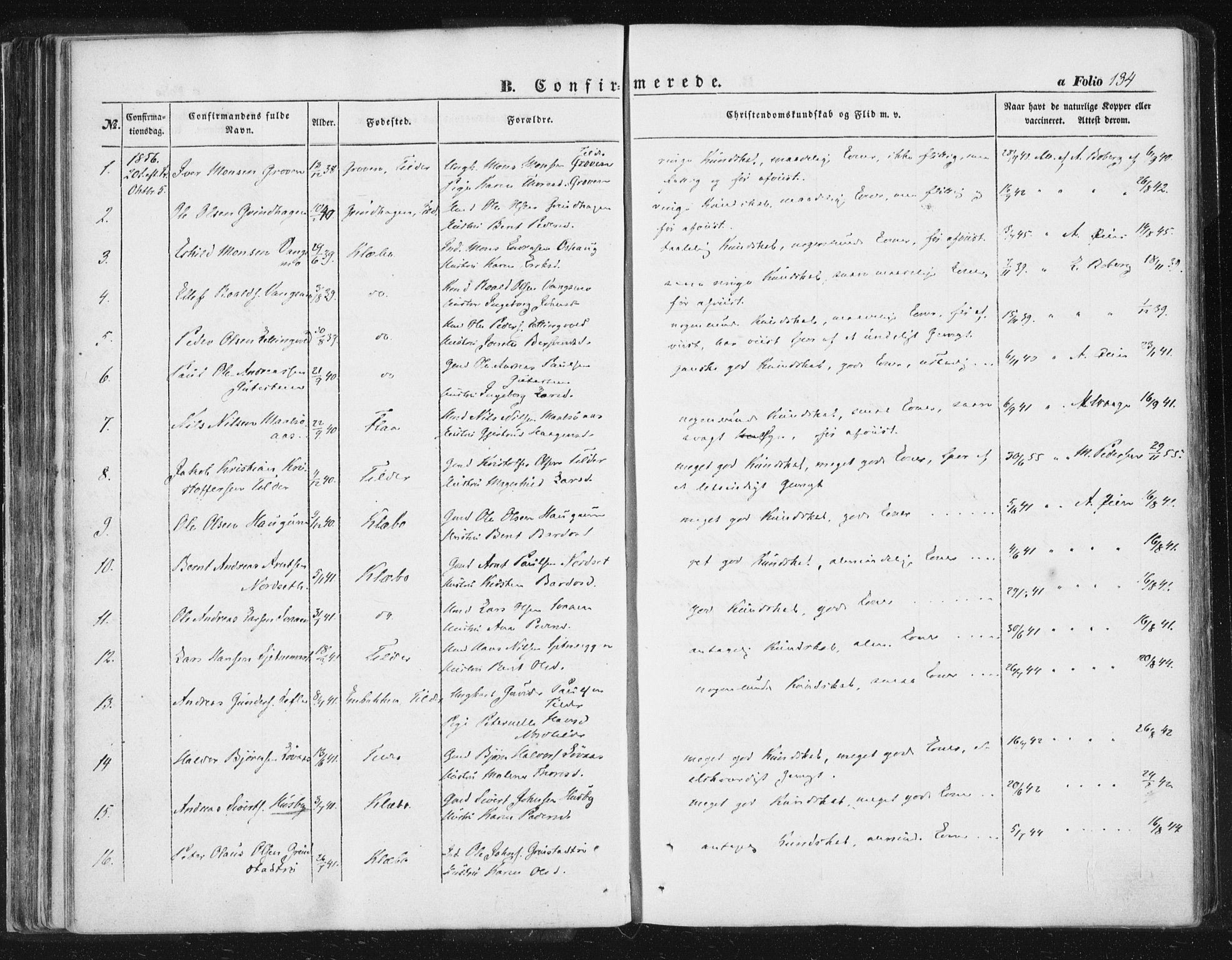 SAT, Ministerialprotokoller, klokkerbøker og fødselsregistre - Sør-Trøndelag, 618/L0441: Ministerialbok nr. 618A05, 1843-1862, s. 134