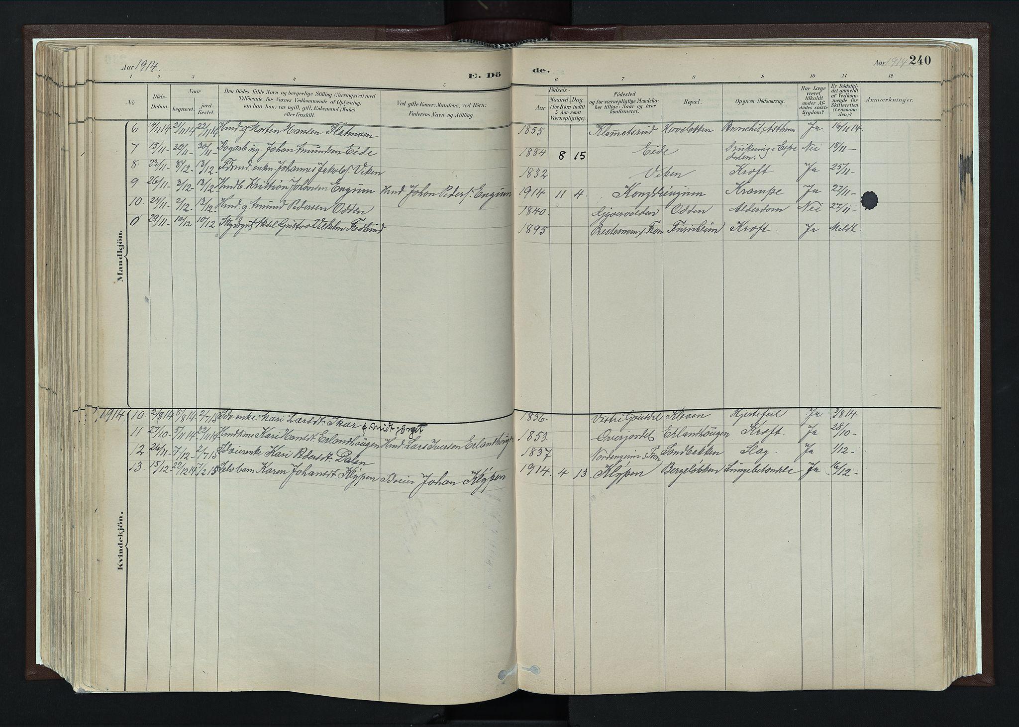 SAH, Nord-Fron prestekontor, Ministerialbok nr. 4, 1884-1914, s. 240