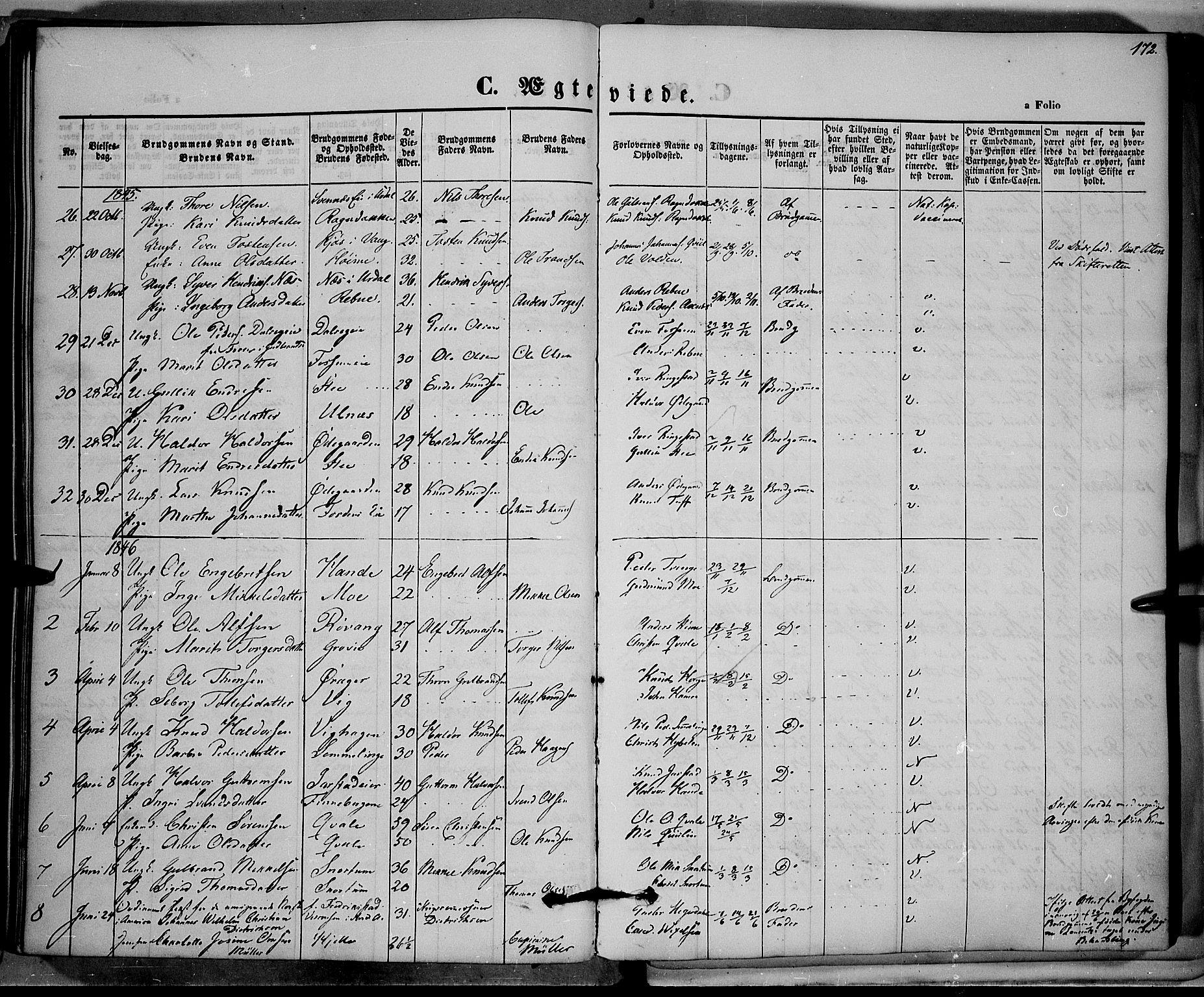 SAH, Vestre Slidre prestekontor, Ministerialbok nr. 1, 1844-1855, s. 172
