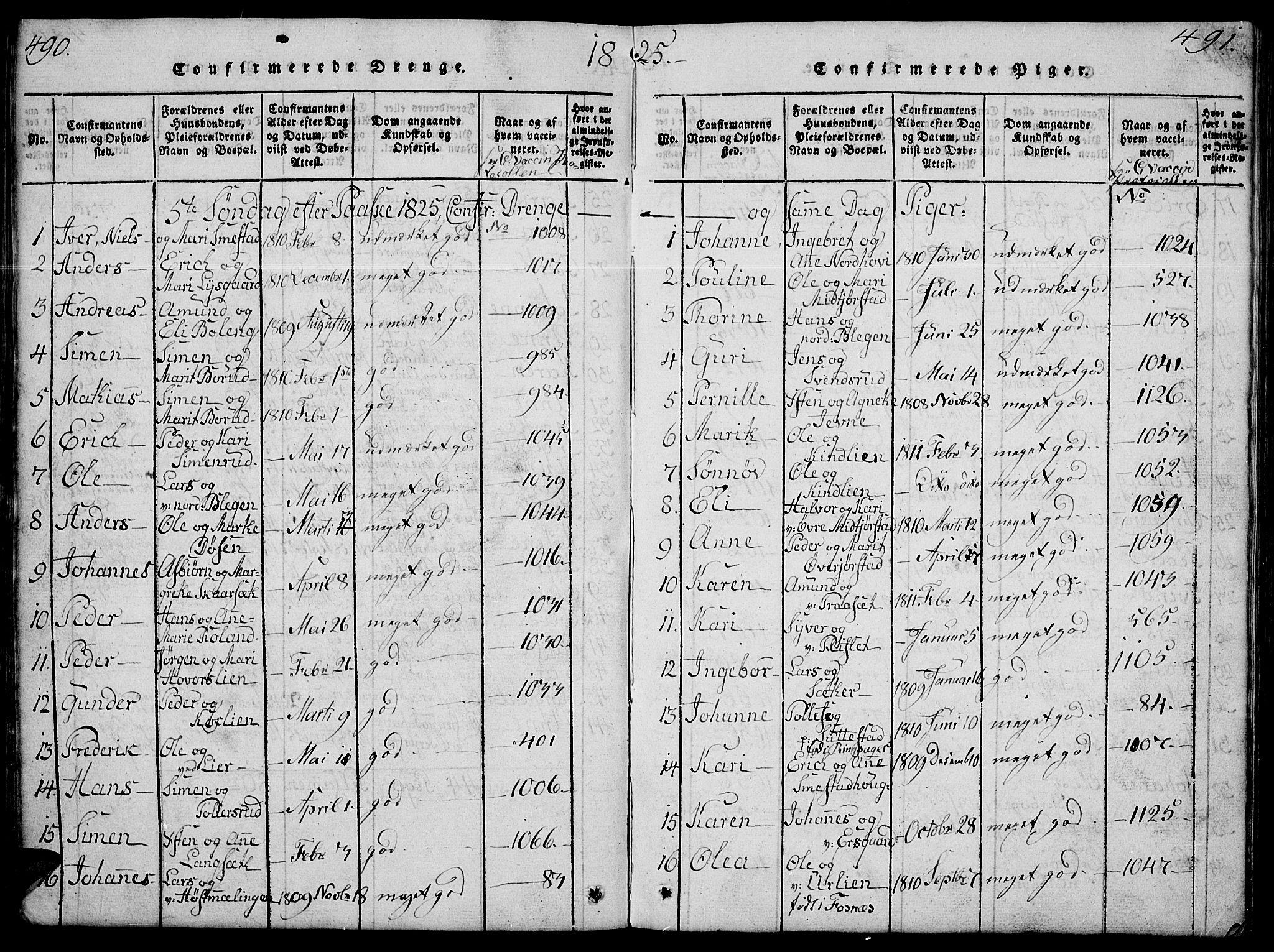 SAH, Fåberg prestekontor, Klokkerbok nr. 4, 1818-1837, s. 490-491