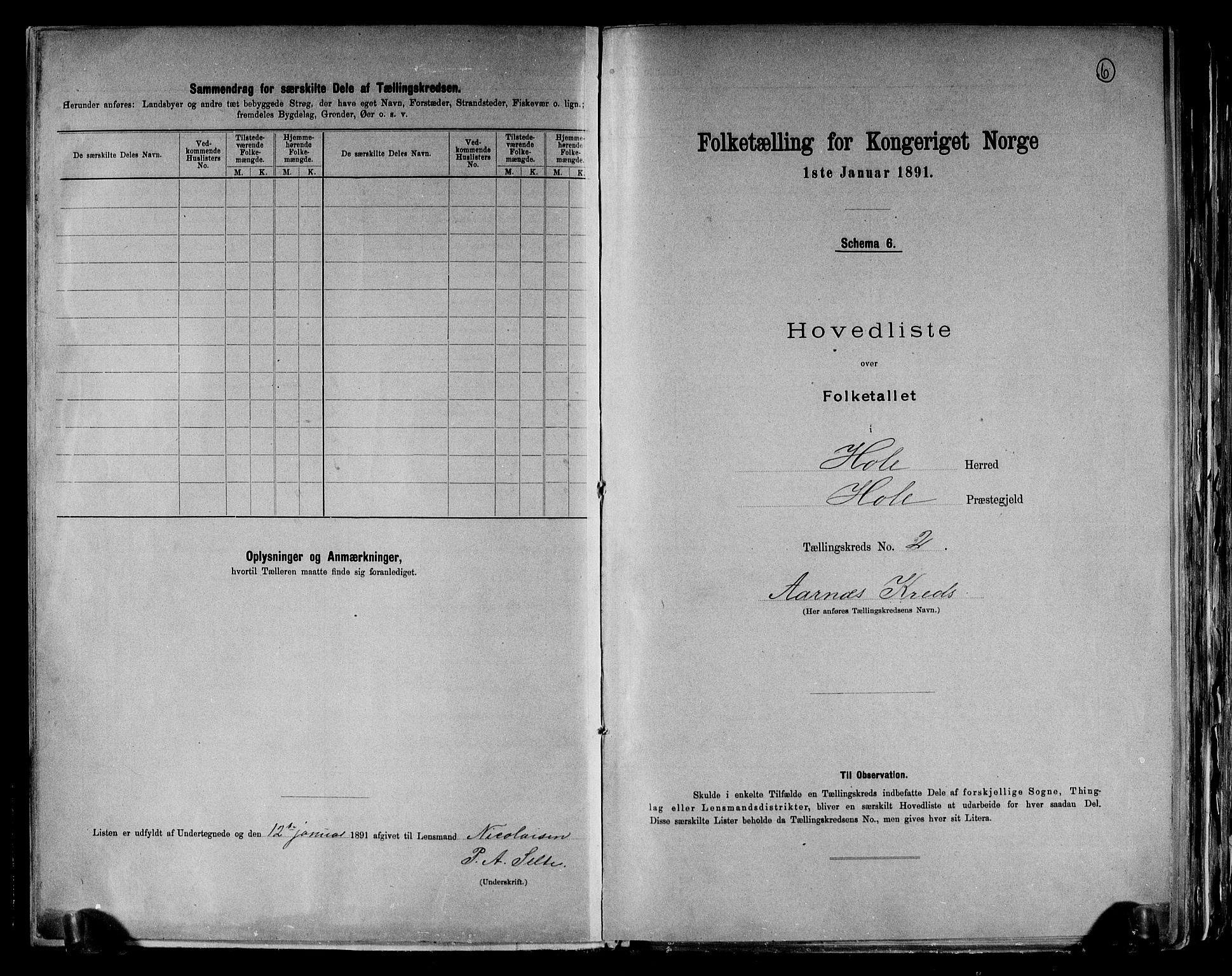 RA, Folketelling 1891 for 0612 Hole herred, 1891, s. 6