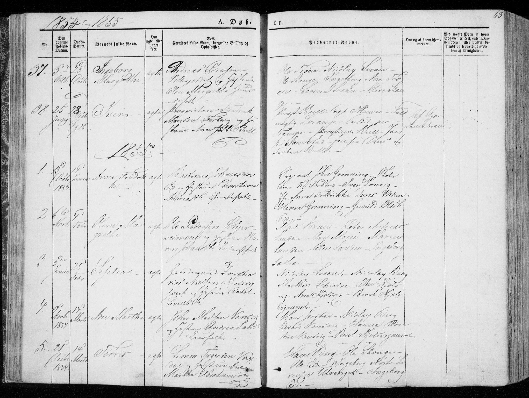 SAT, Ministerialprotokoller, klokkerbøker og fødselsregistre - Nord-Trøndelag, 722/L0218: Ministerialbok nr. 722A05, 1843-1868, s. 63