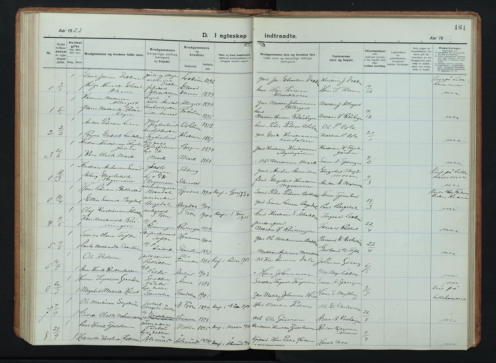 SAH, Ringebu prestekontor, Klokkerbok nr. 11, 1921-1943, s. 161