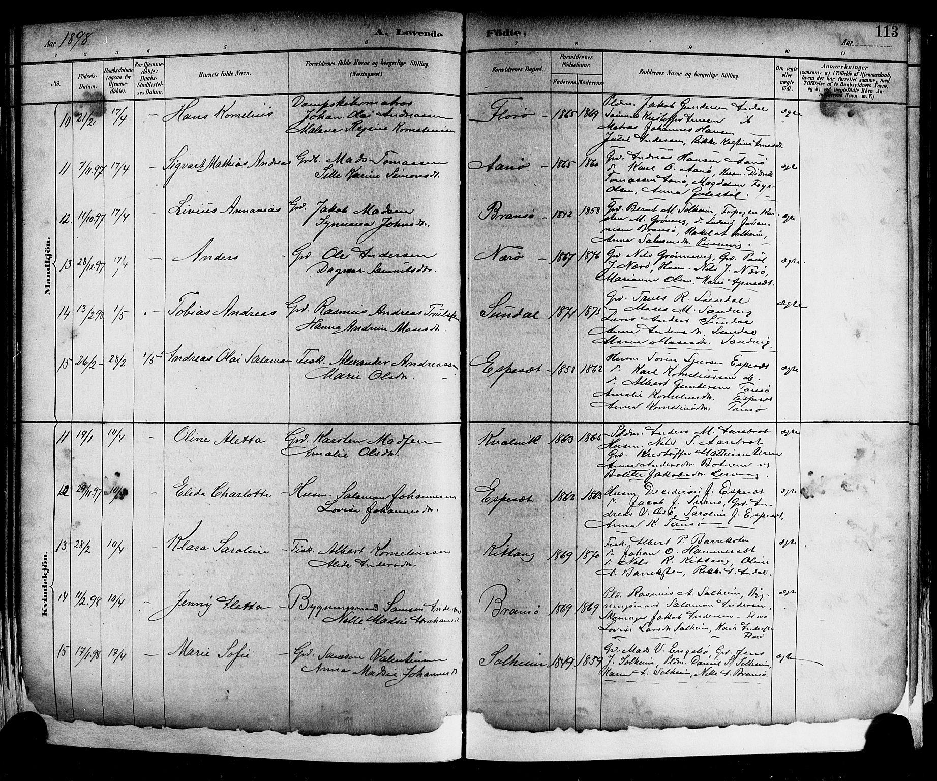SAB, Kinn Sokneprestembete, Klokkerbok nr. A 2, 1882-1906, s. 113