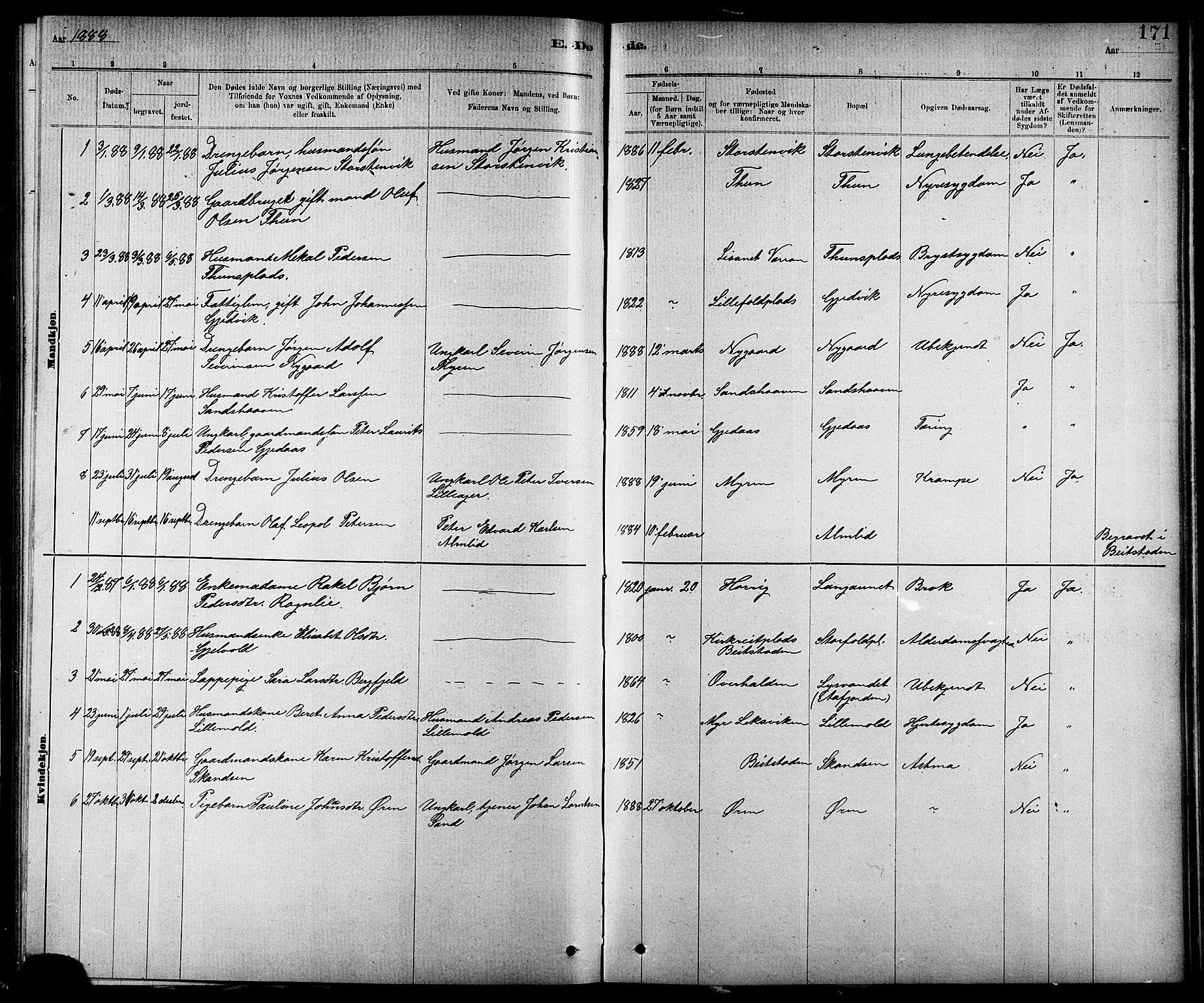 SAT, Ministerialprotokoller, klokkerbøker og fødselsregistre - Nord-Trøndelag, 744/L0423: Klokkerbok nr. 744C02, 1886-1905, s. 171