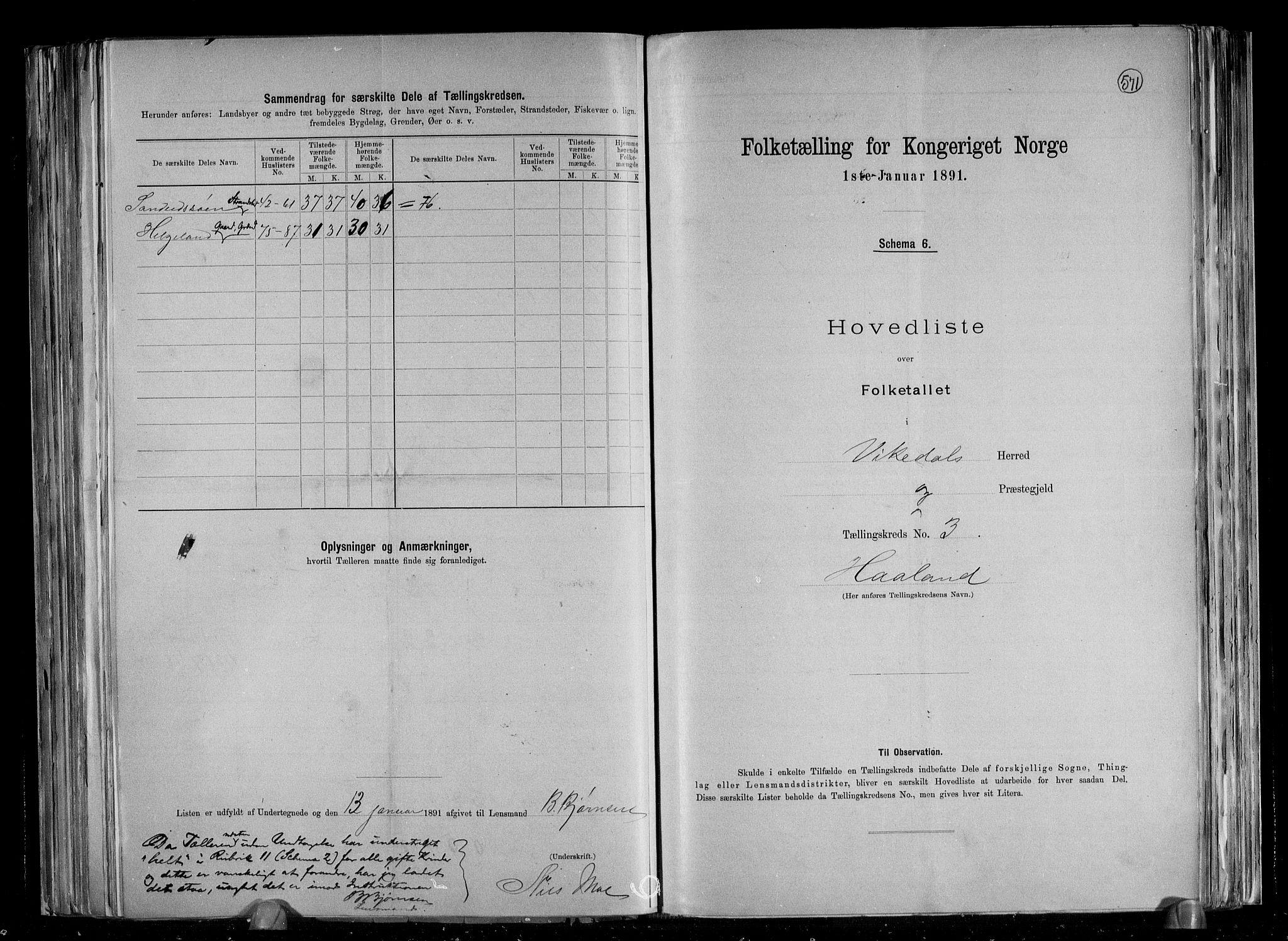 RA, Folketelling 1891 for 1157 Vikedal herred, 1891, s. 9