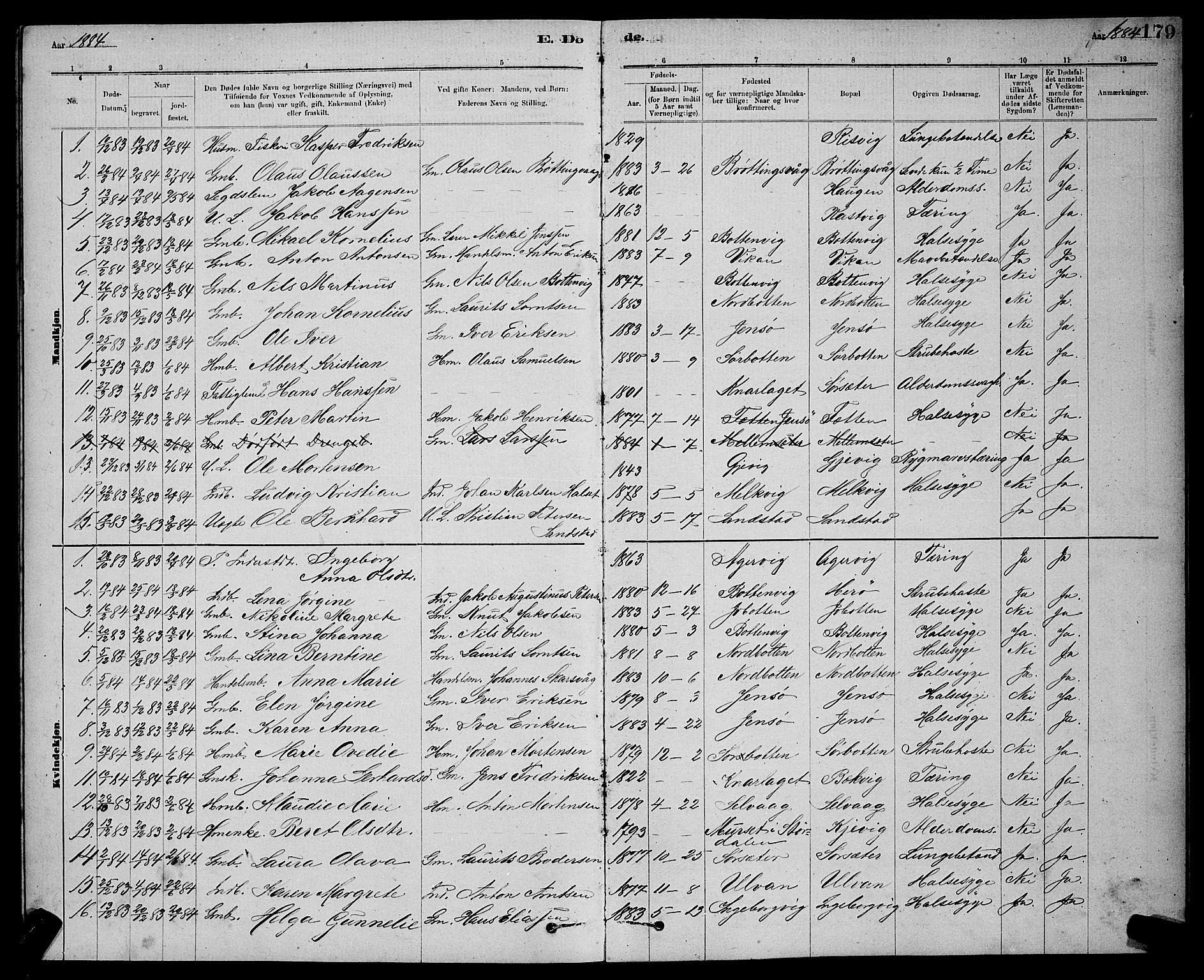 SAT, Ministerialprotokoller, klokkerbøker og fødselsregistre - Sør-Trøndelag, 637/L0562: Klokkerbok nr. 637C03, 1883-1898, s. 179