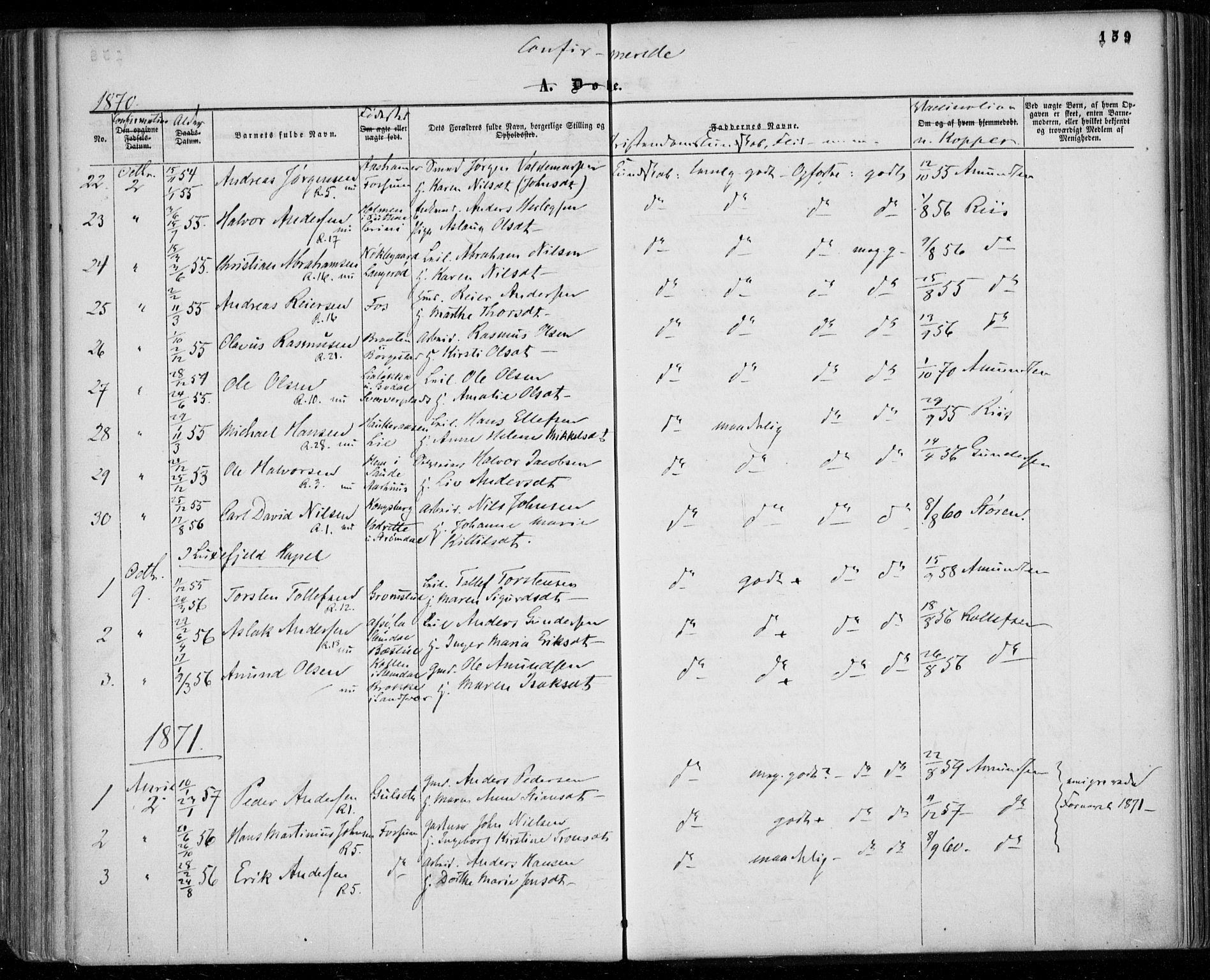 SAKO, Gjerpen kirkebøker, F/Fa/L0008a: Ministerialbok nr. 8A, 1857-1871, s. 159