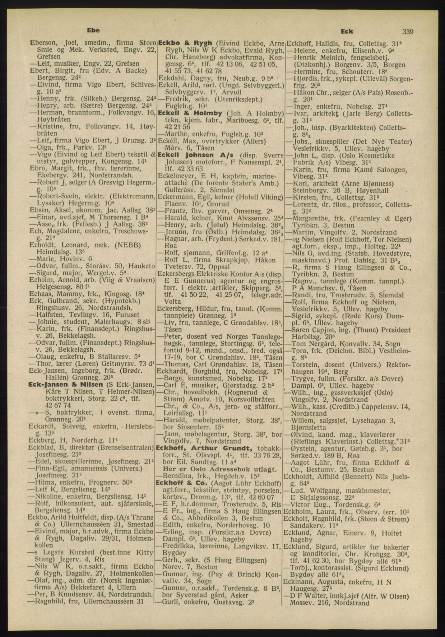 PUBL, Kristiania/Oslo adressebok, 1955, s. 339