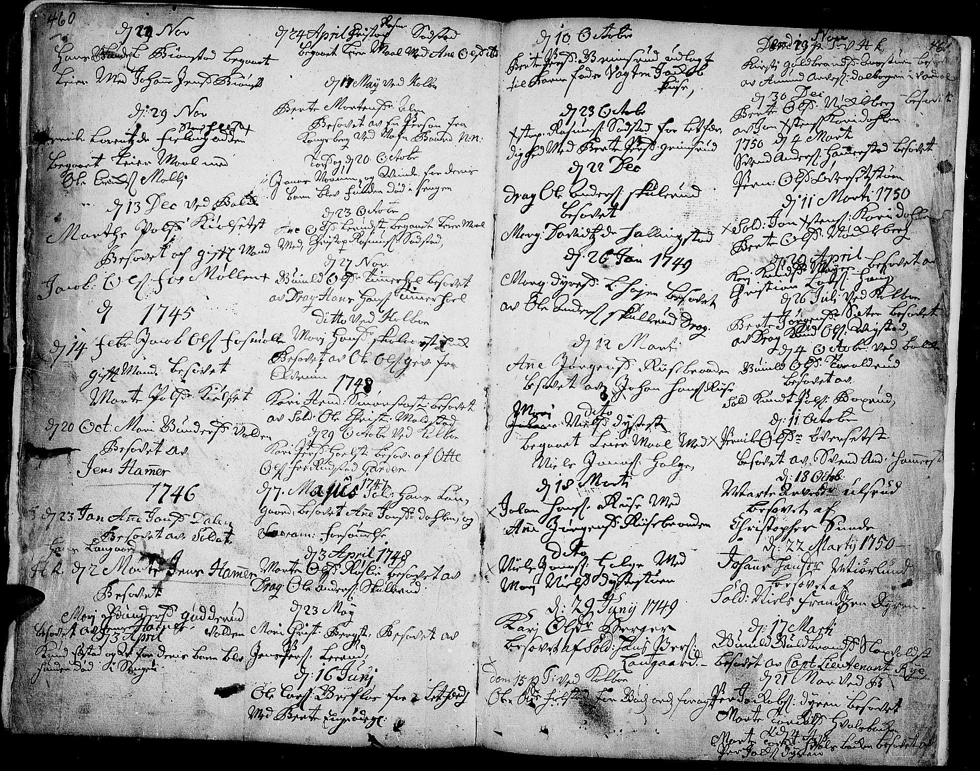 SAH, Toten prestekontor, Ministerialbok nr. 3, 1734-1751, s. 460-461