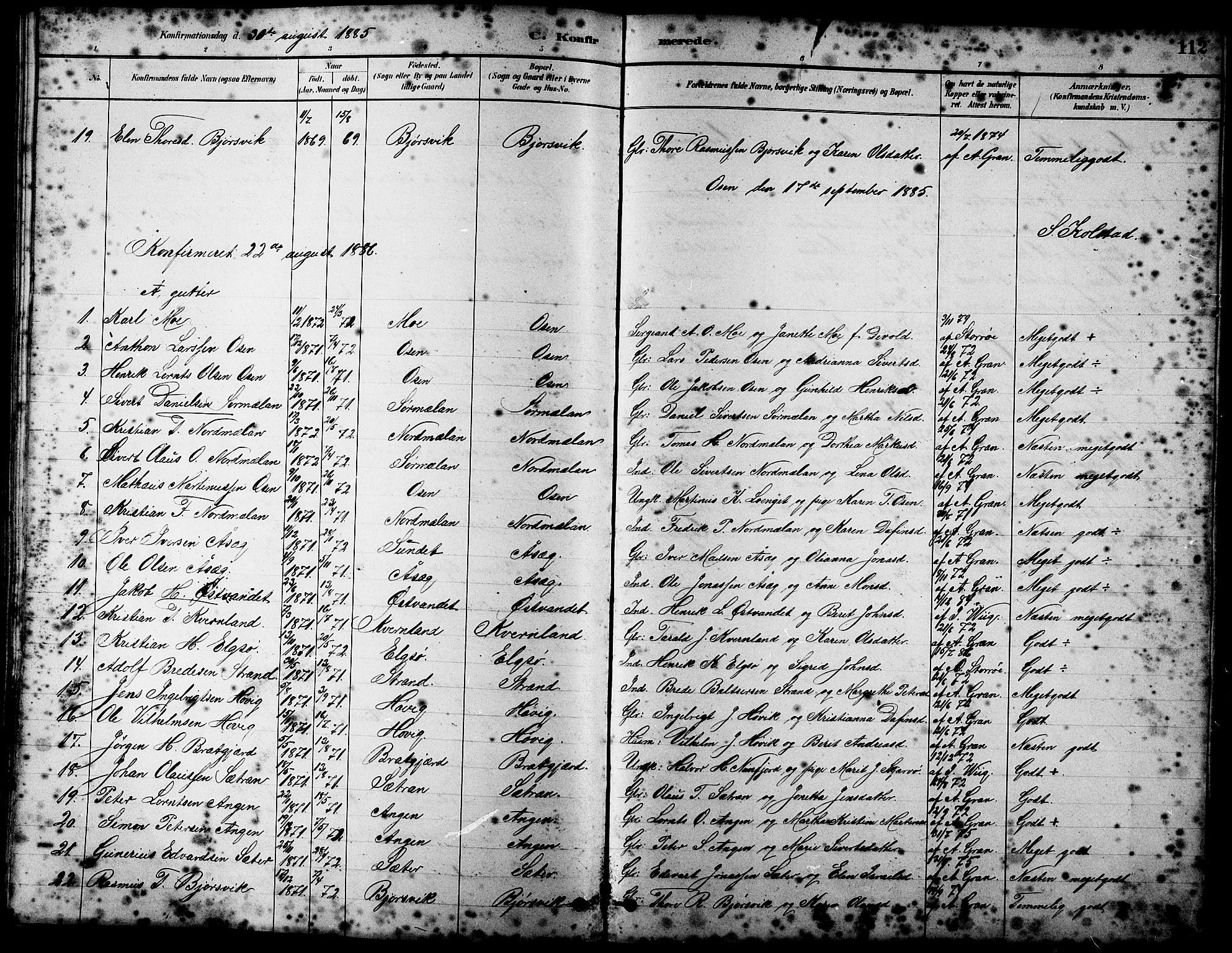SAT, Ministerialprotokoller, klokkerbøker og fødselsregistre - Sør-Trøndelag, 658/L0726: Klokkerbok nr. 658C02, 1883-1908, s. 112