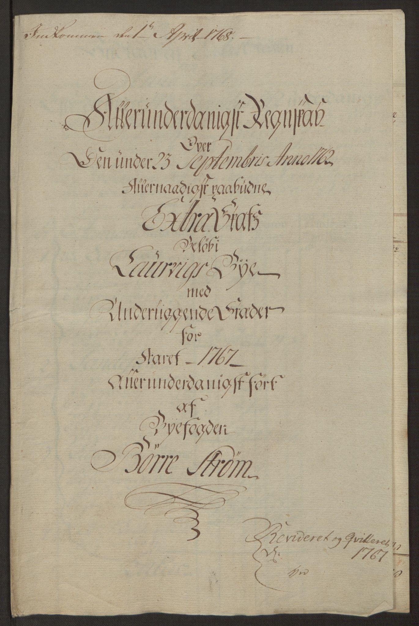 RA, Rentekammeret inntil 1814, Reviderte regnskaper, Byregnskaper, R/Ri/L0183: [I4] Kontribusjonsregnskap, 1762-1768, s. 378
