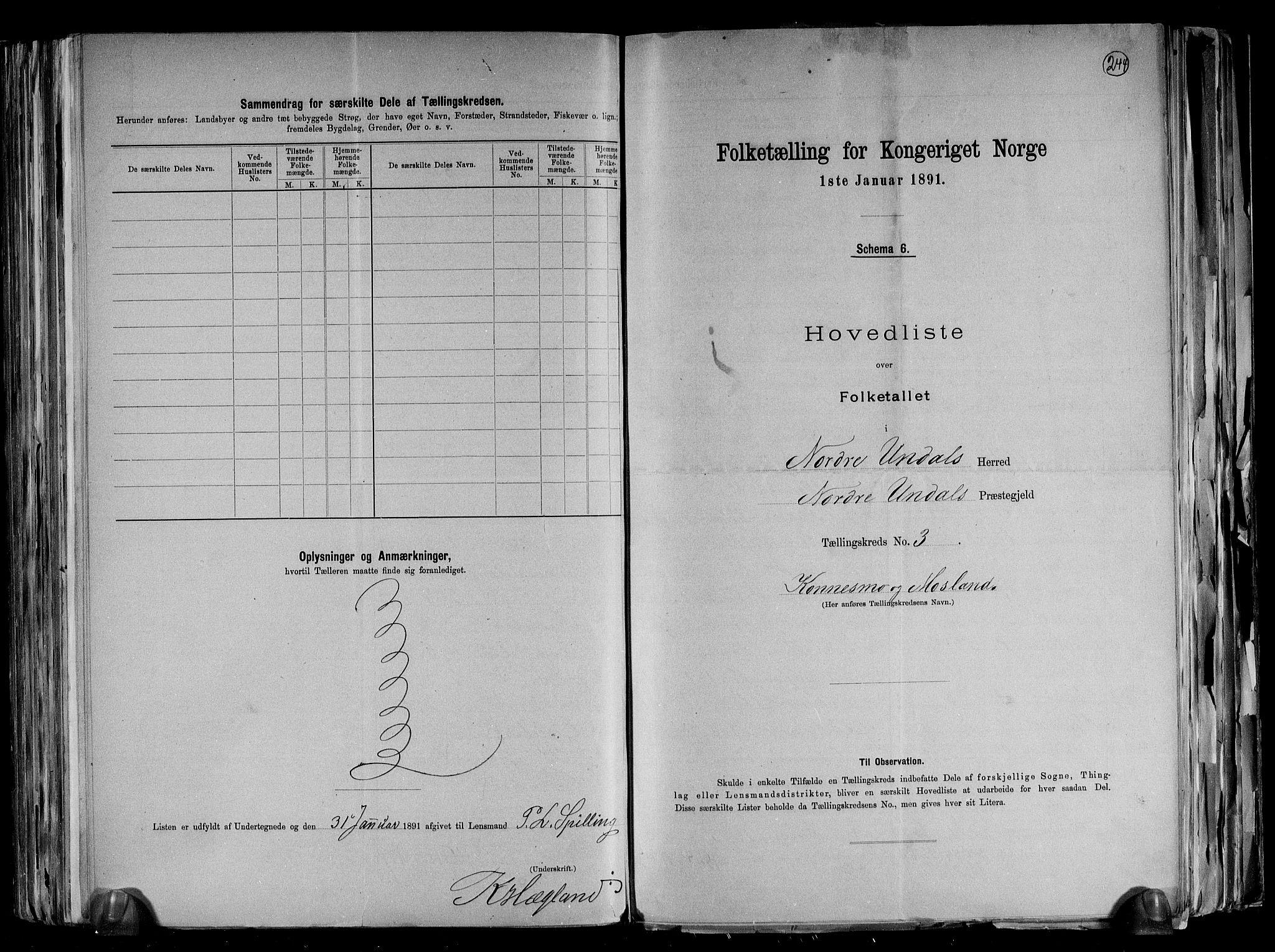 RA, Folketelling 1891 for 1028 Nord-Audnedal herred, 1891, s. 9