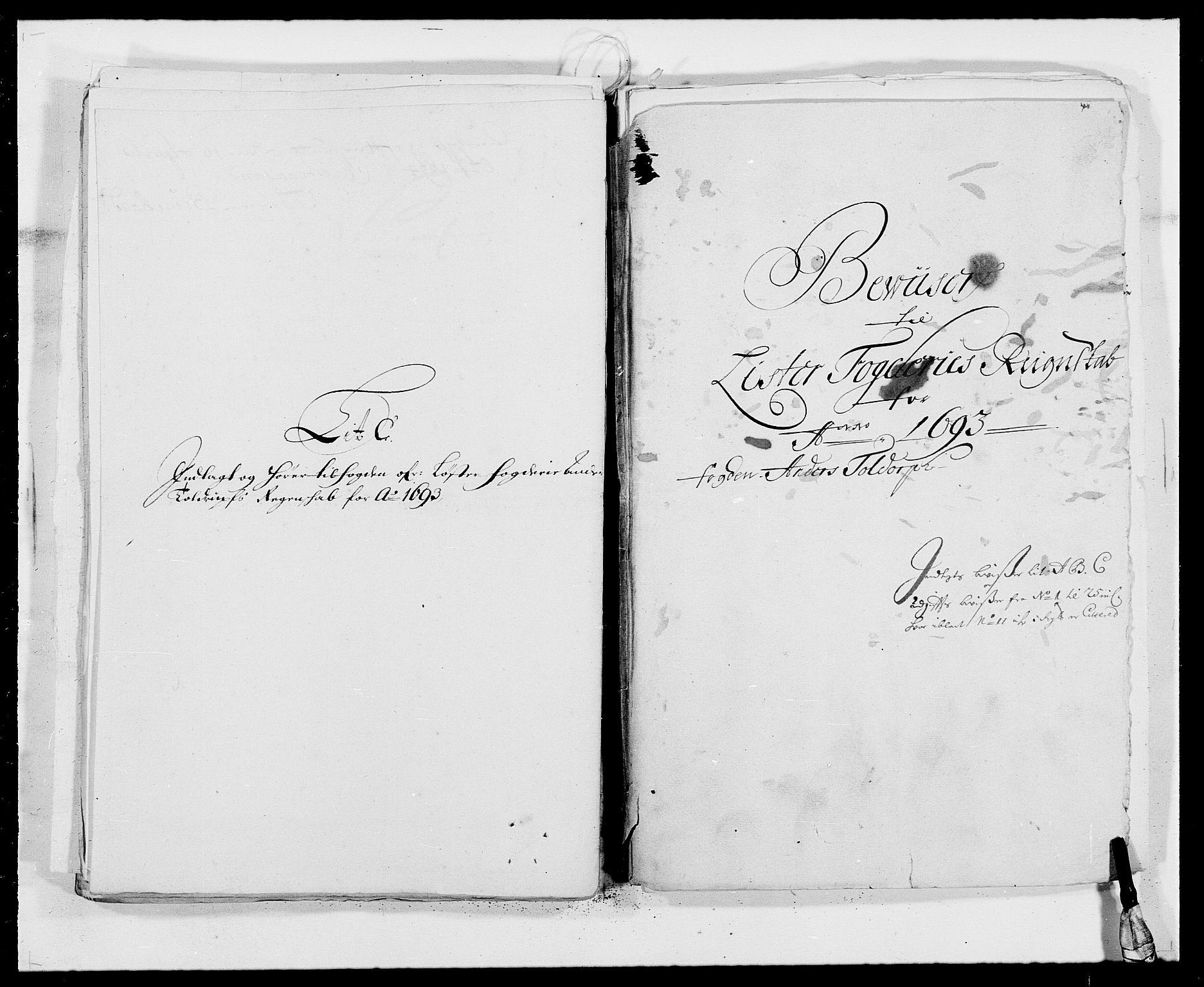RA, Rentekammeret inntil 1814, Reviderte regnskaper, Fogderegnskap, R41/L2536: Fogderegnskap Lista, 1690-1693, s. 452