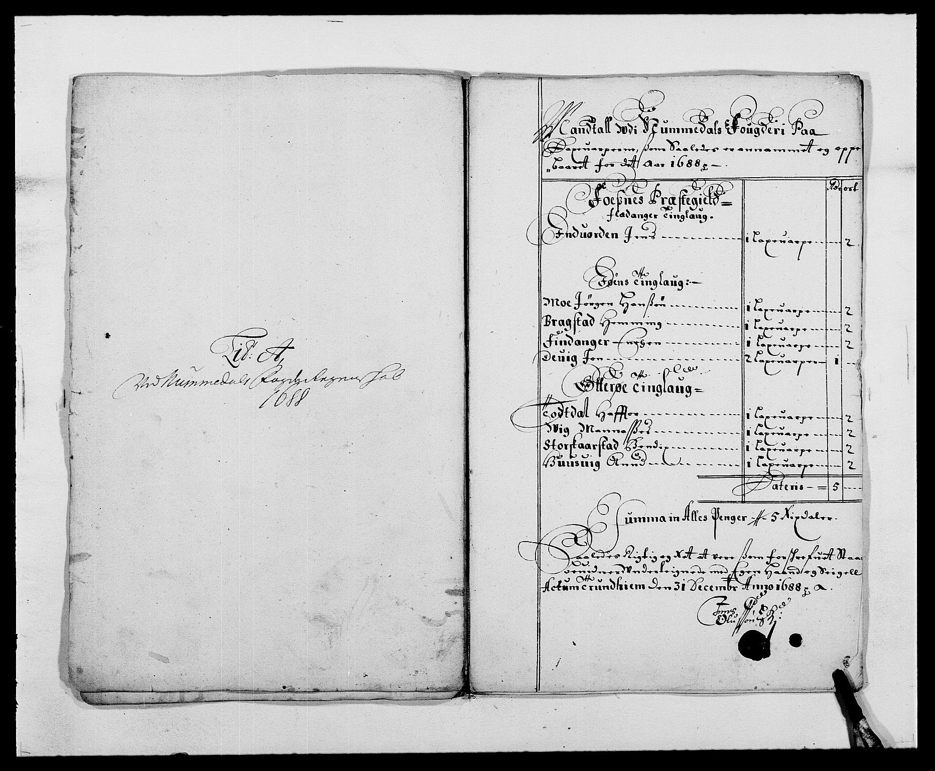 RA, Rentekammeret inntil 1814, Reviderte regnskaper, Fogderegnskap, R64/L4422: Fogderegnskap Namdal, 1687-1689, s. 101