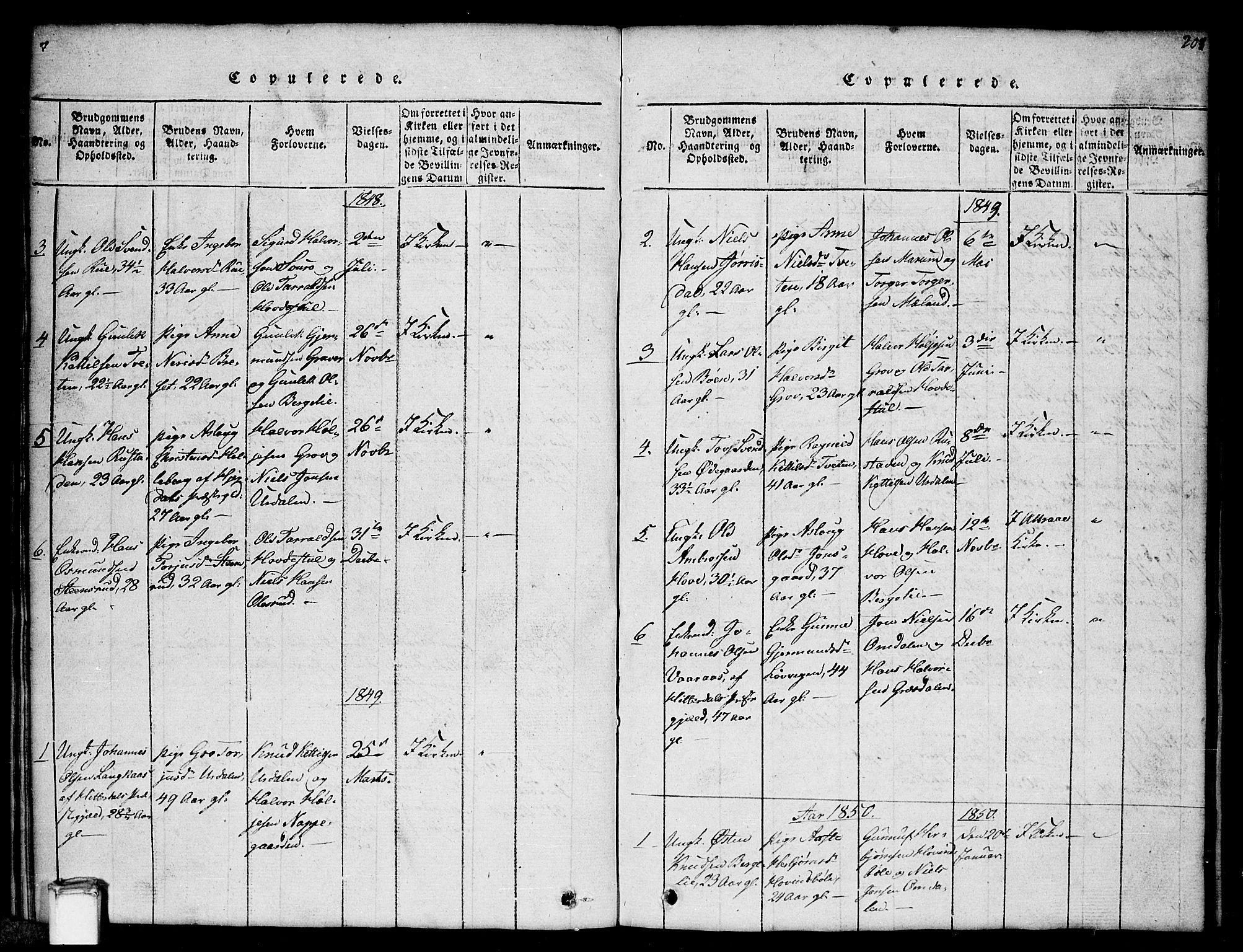 SAKO, Gransherad kirkebøker, G/Gb/L0001: Klokkerbok nr. II 1, 1815-1860, s. 208