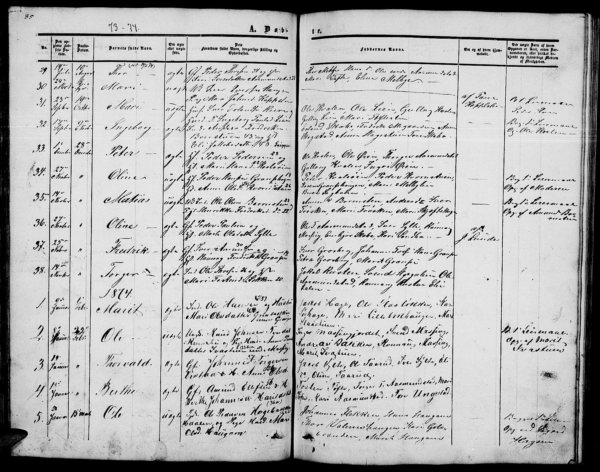 SAH, Nord-Fron prestekontor, Klokkerbok nr. 2, 1851-1883, s. 85