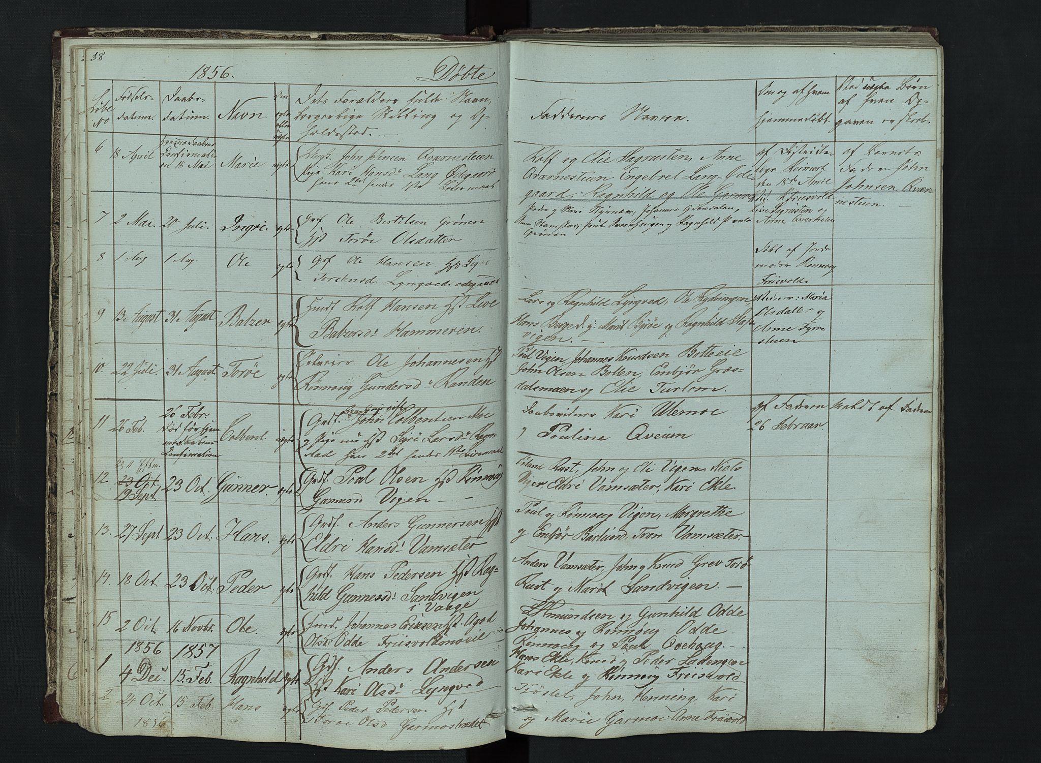 SAH, Lom prestekontor, L/L0014: Klokkerbok nr. 14, 1845-1876, s. 38-39