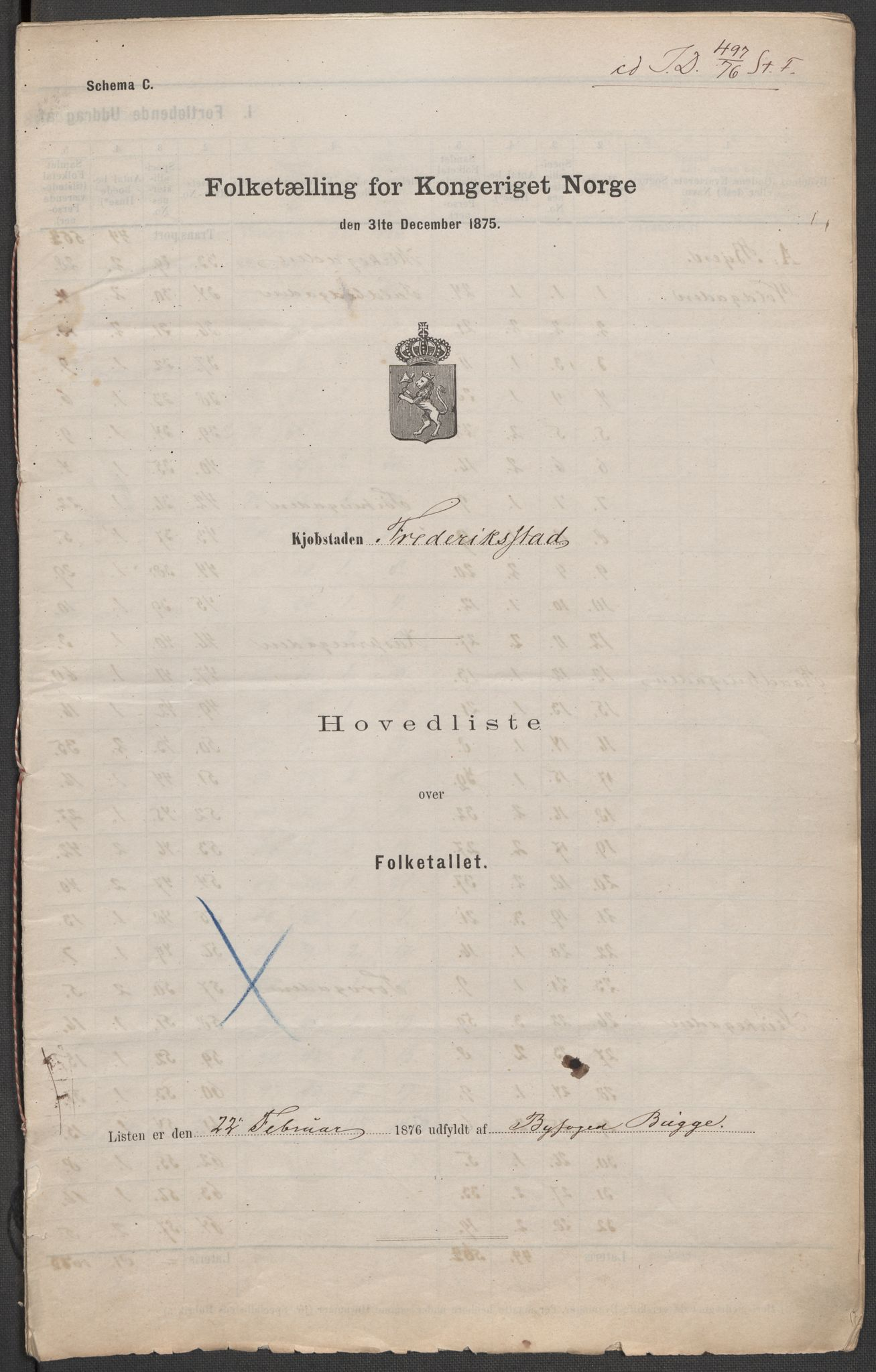 RA, Folketelling 1875 for 0103B Fredrikstad prestegjeld, Fredrikstad kjøpstad, 1875, s. 1