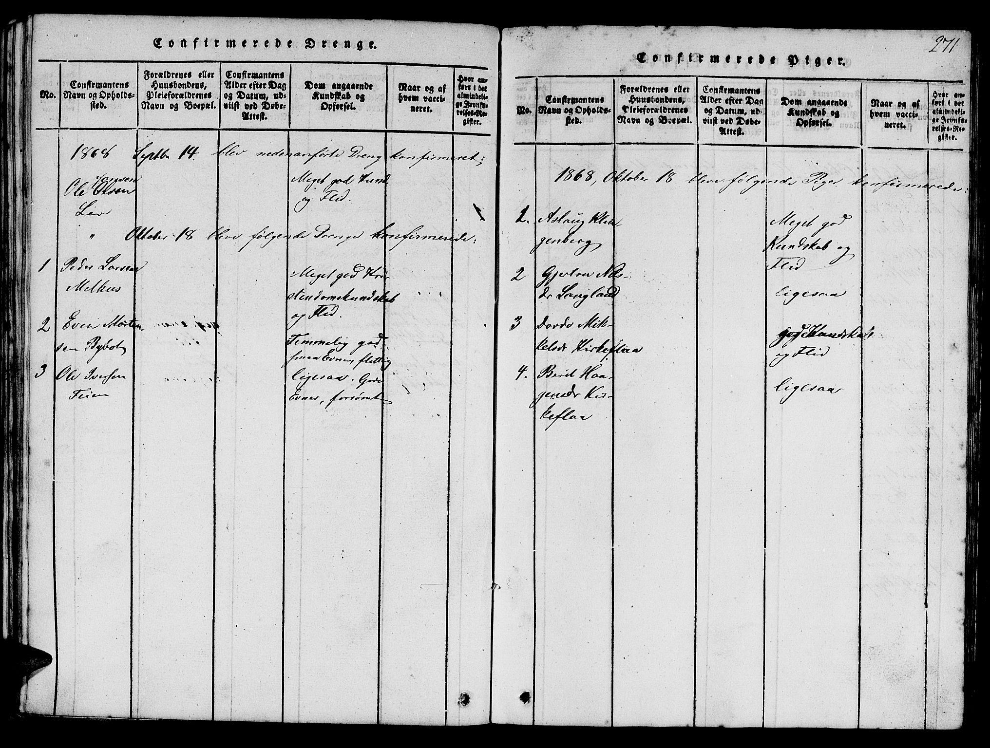 SAT, Ministerialprotokoller, klokkerbøker og fødselsregistre - Sør-Trøndelag, 693/L1121: Klokkerbok nr. 693C02, 1816-1869, s. 271