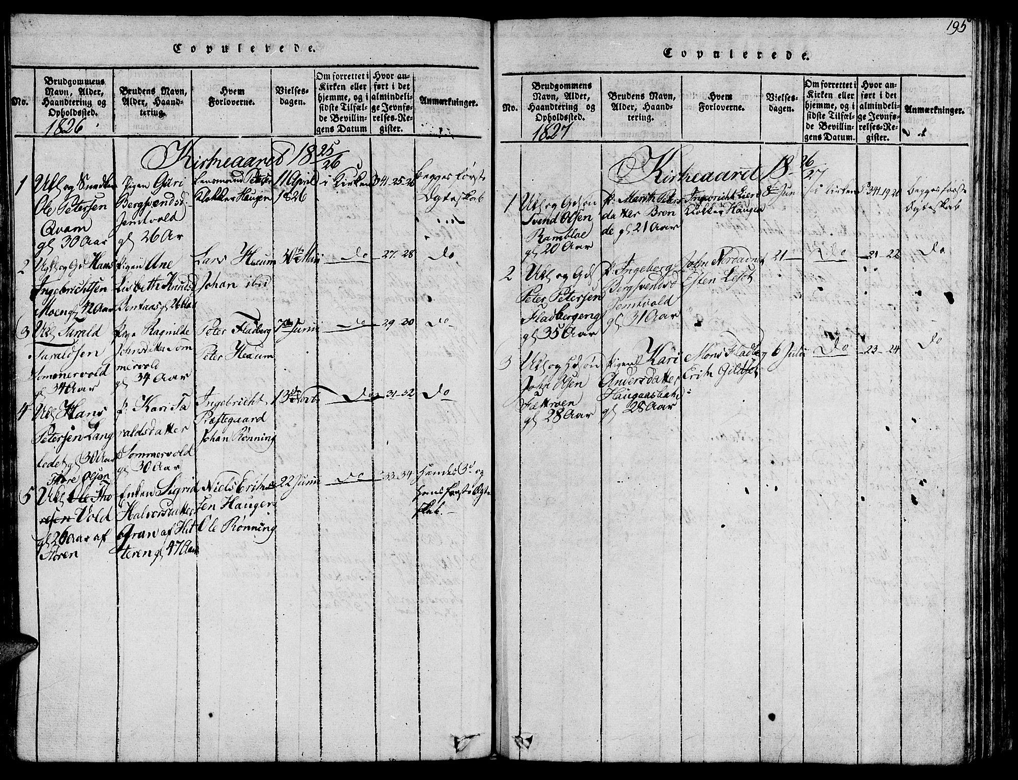 SAT, Ministerialprotokoller, klokkerbøker og fødselsregistre - Sør-Trøndelag, 685/L0954: Ministerialbok nr. 685A03 /1, 1817-1829, s. 195