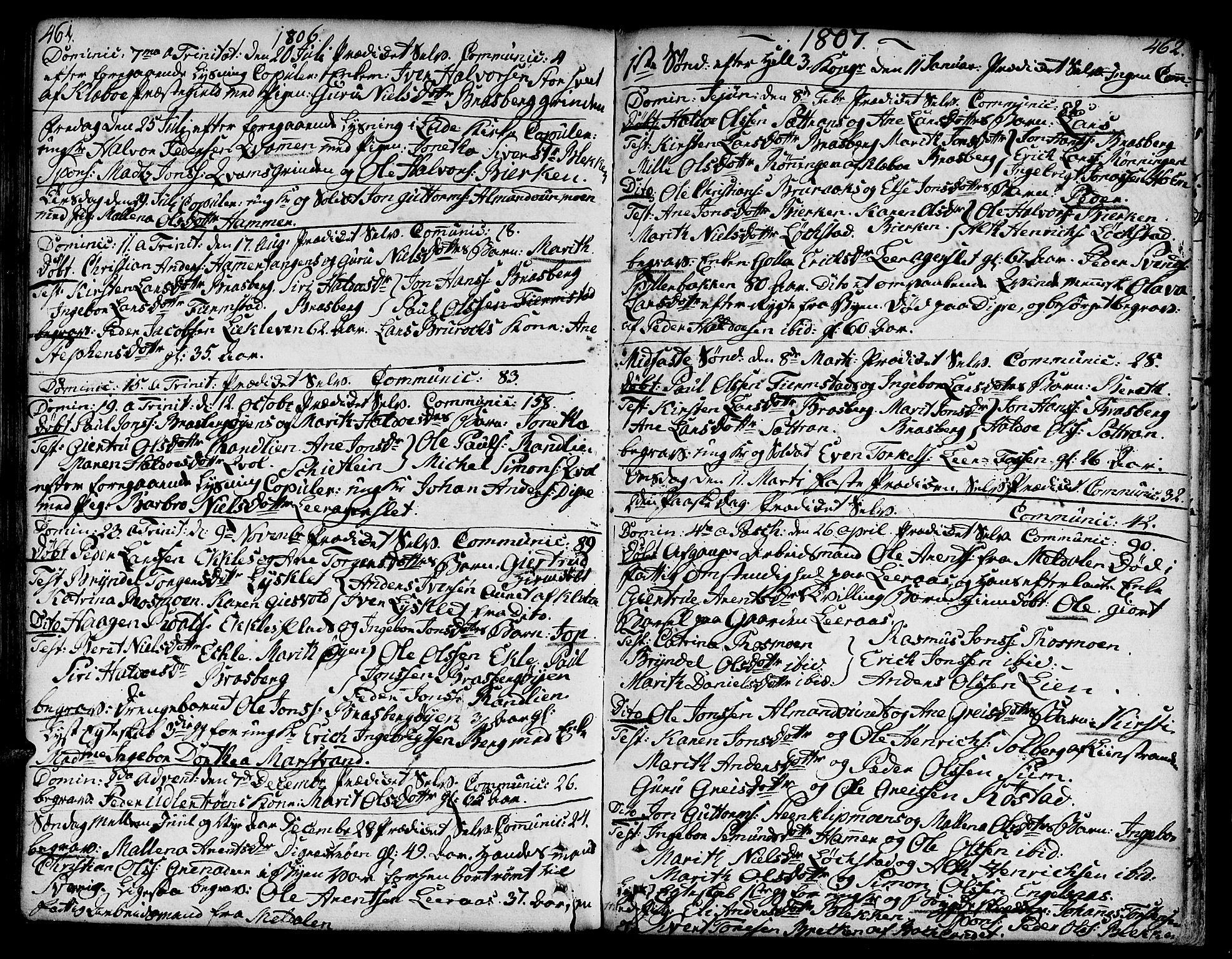 SAT, Ministerialprotokoller, klokkerbøker og fødselsregistre - Sør-Trøndelag, 606/L0282: Ministerialbok nr. 606A02 /3, 1781-1817, s. 461-462