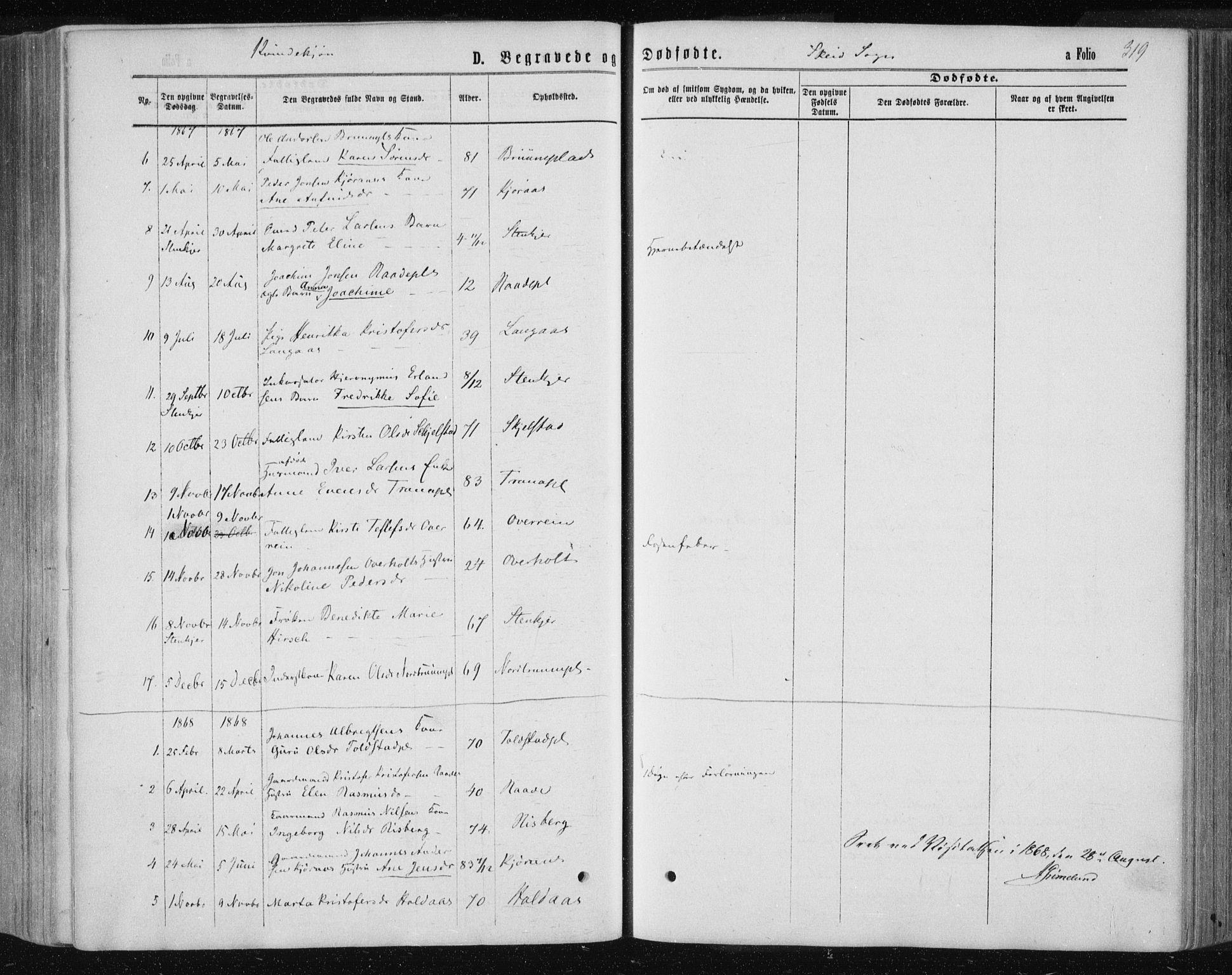SAT, Ministerialprotokoller, klokkerbøker og fødselsregistre - Nord-Trøndelag, 735/L0345: Ministerialbok nr. 735A08 /2, 1863-1872, s. 319