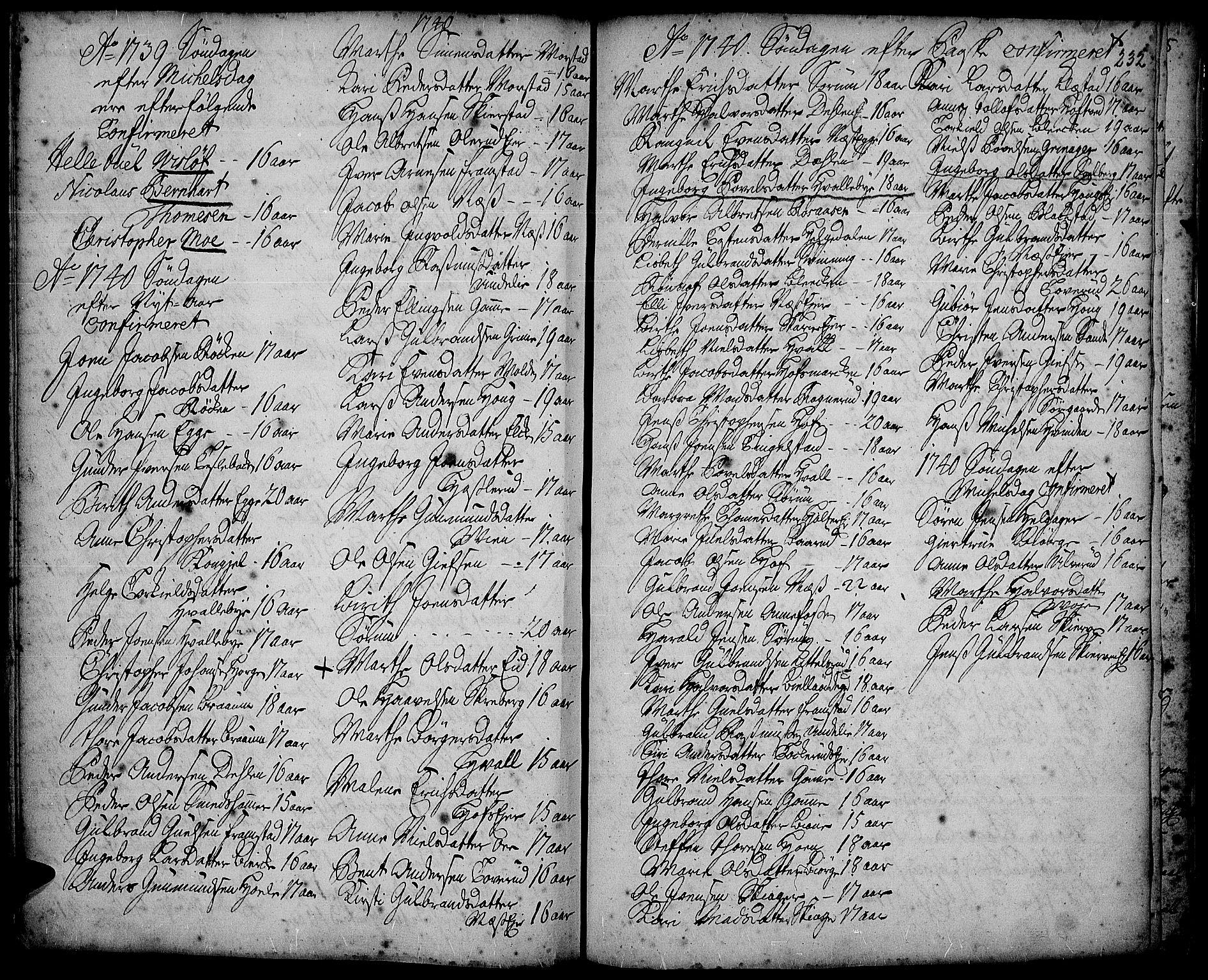 SAH, Gran prestekontor, Ministerialbok nr. 2, 1732-1744, s. 232