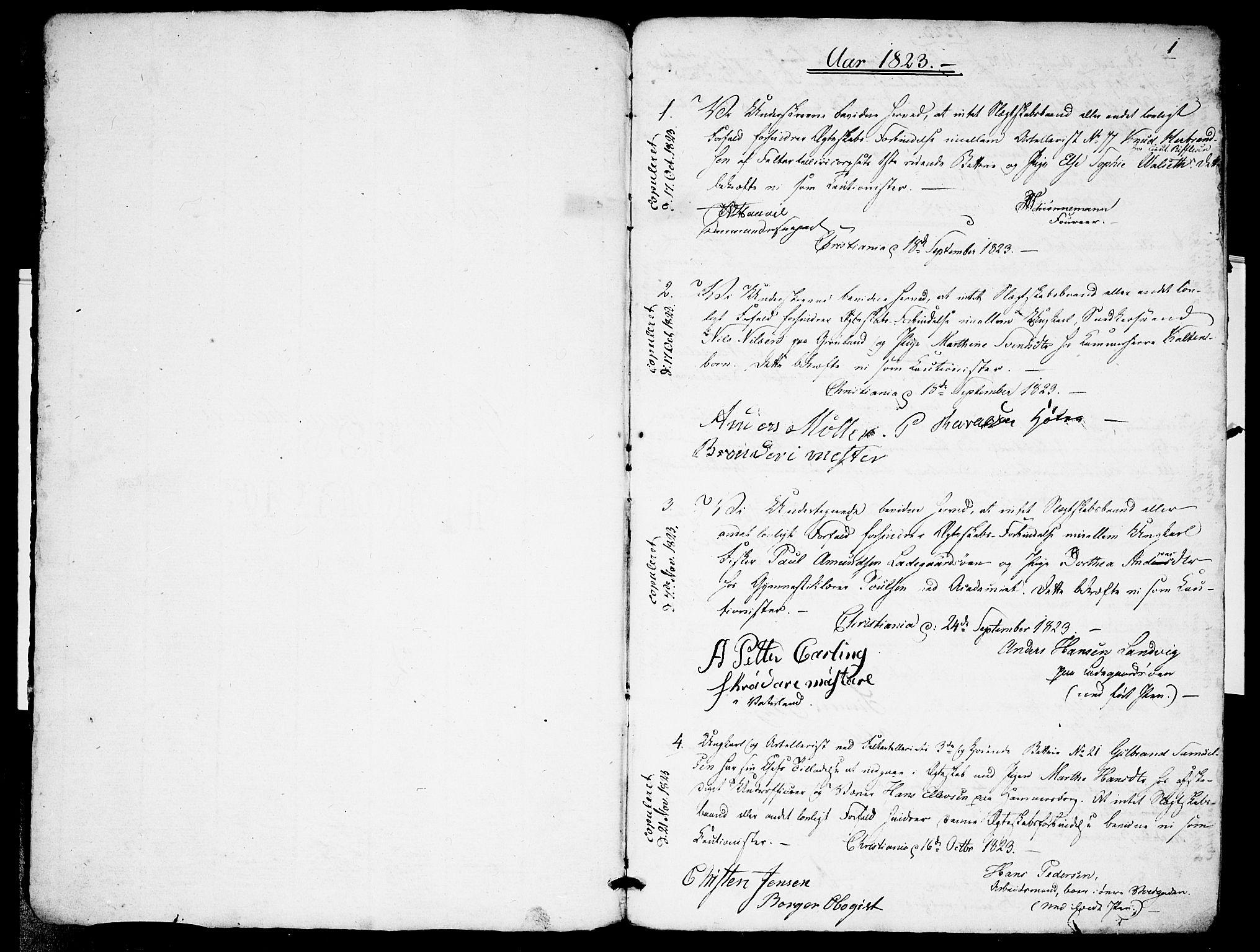 SAO, Garnisonsmenigheten Kirkebøker, H/Ha/L0001: Lysningsprotokoll nr. I 1, 1823-1828, s. 0-1