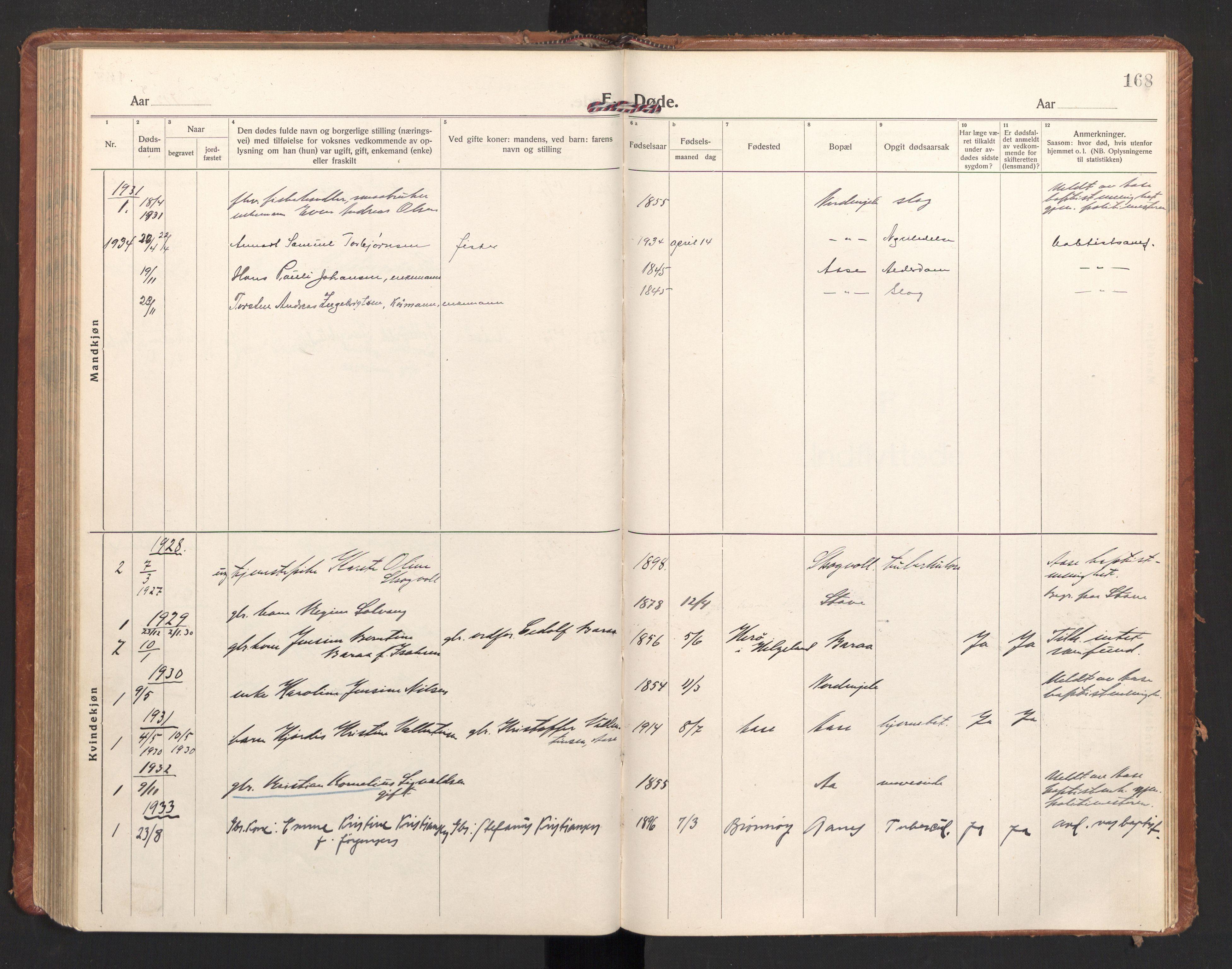 SAT, Ministerialprotokoller, klokkerbøker og fødselsregistre - Nordland, 897/L1408: Ministerialbok nr. 897A15, 1922-1938, s. 168