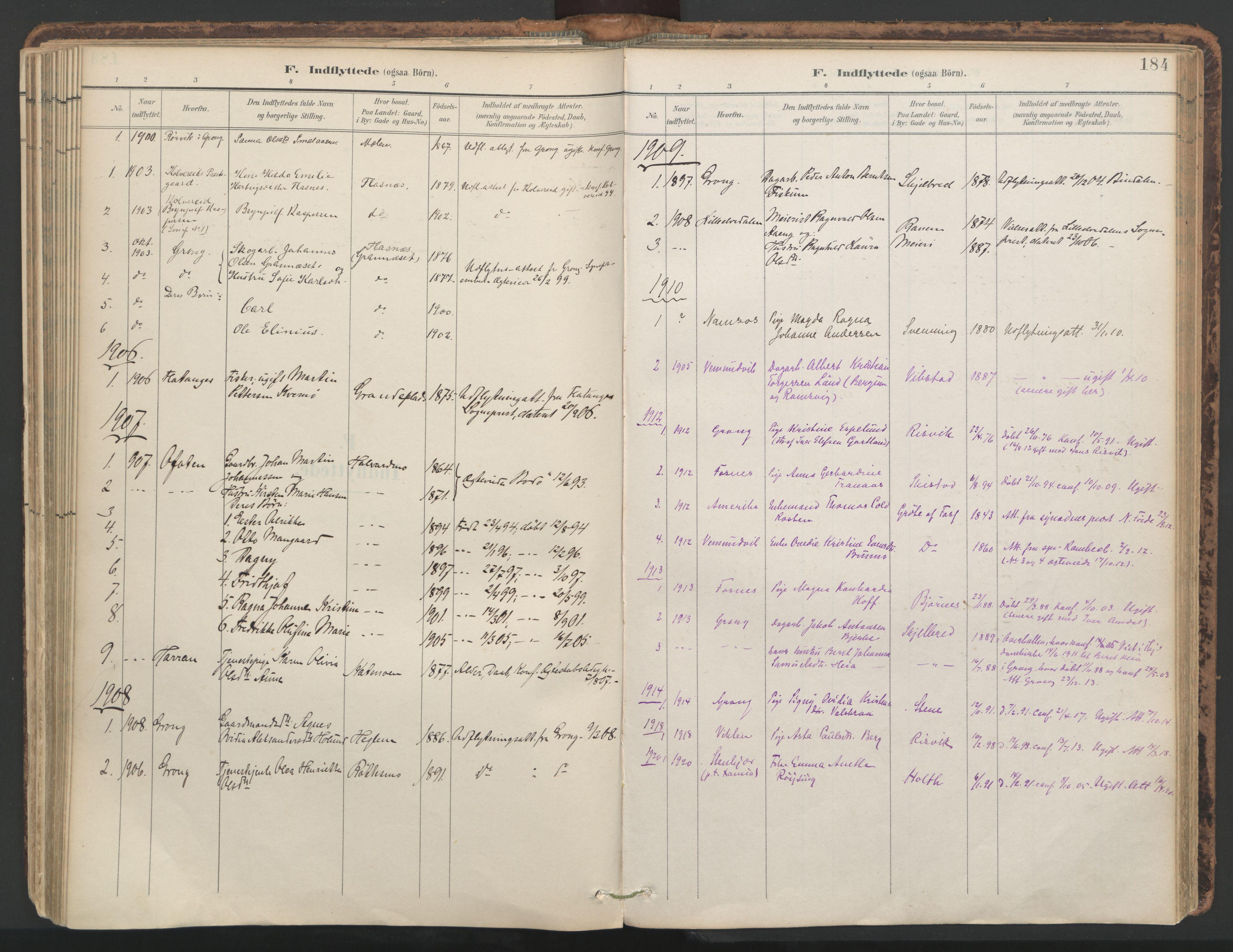 SAT, Ministerialprotokoller, klokkerbøker og fødselsregistre - Nord-Trøndelag, 764/L0556: Ministerialbok nr. 764A11, 1897-1924, s. 184