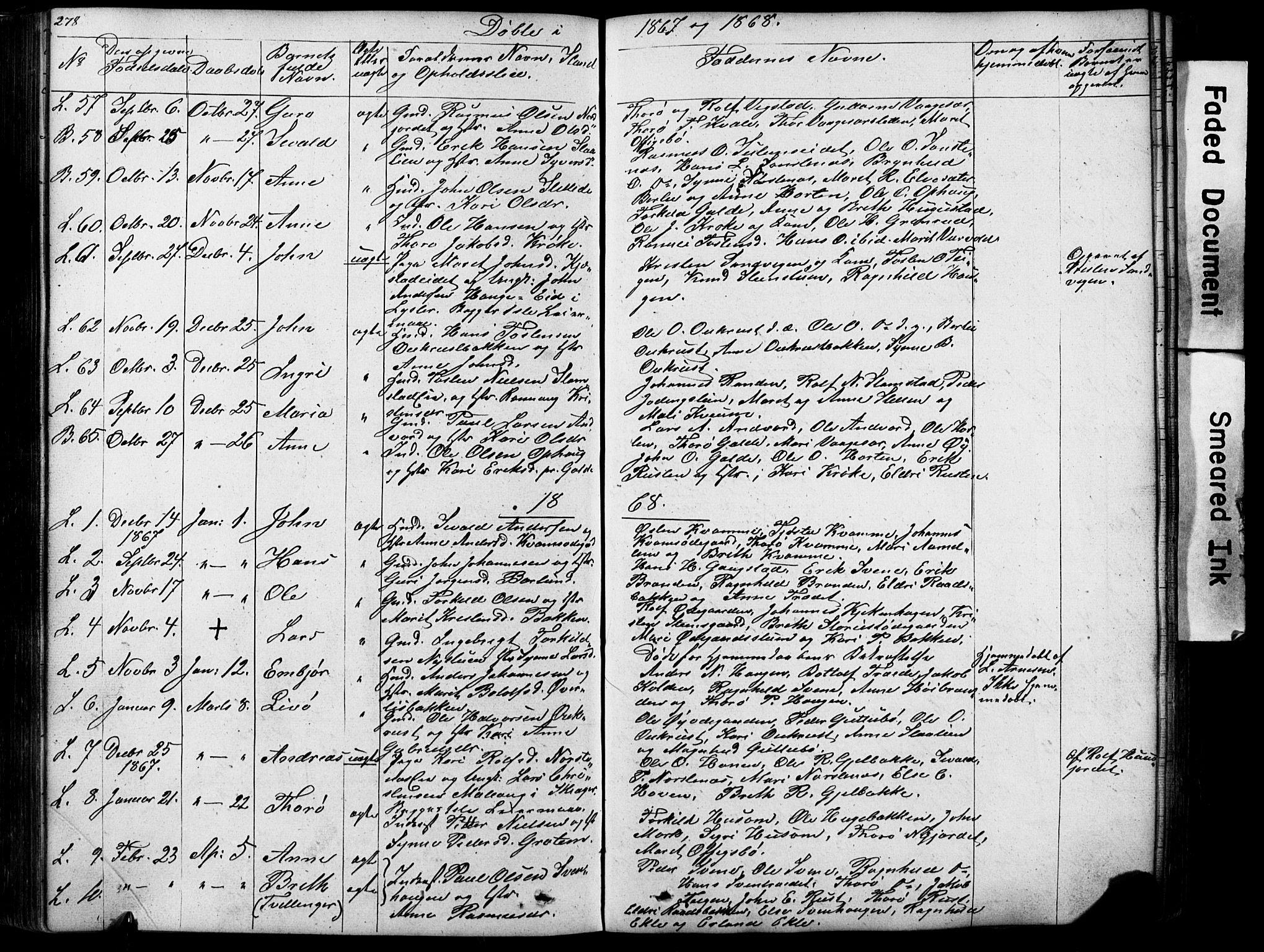 SAH, Lom prestekontor, L/L0012: Klokkerbok nr. 12, 1845-1873, s. 278-279