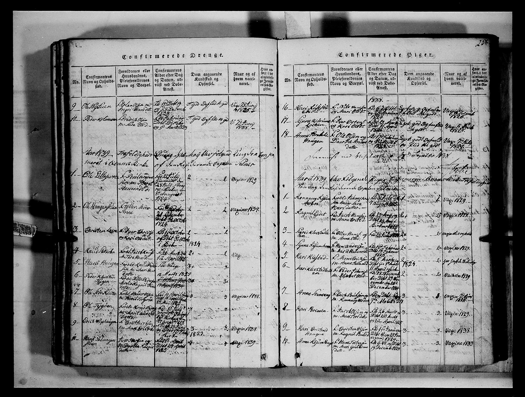 SAH, Fron prestekontor, H/Ha/Hab/L0002: Klokkerbok nr. 2, 1816-1850, s. 258