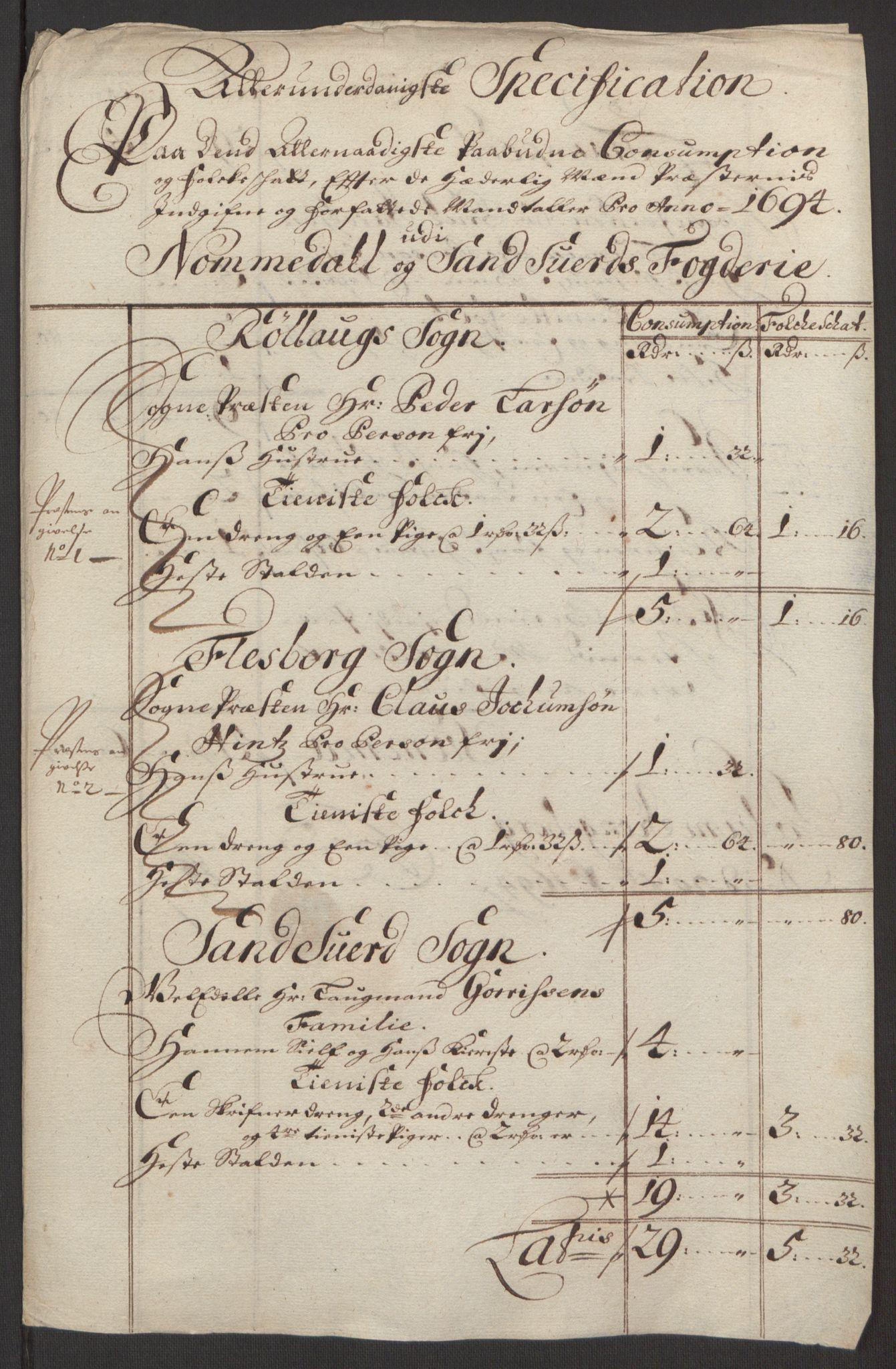RA, Rentekammeret inntil 1814, Reviderte regnskaper, Fogderegnskap, R24/L1575: Fogderegnskap Numedal og Sandsvær, 1692-1695, s. 252