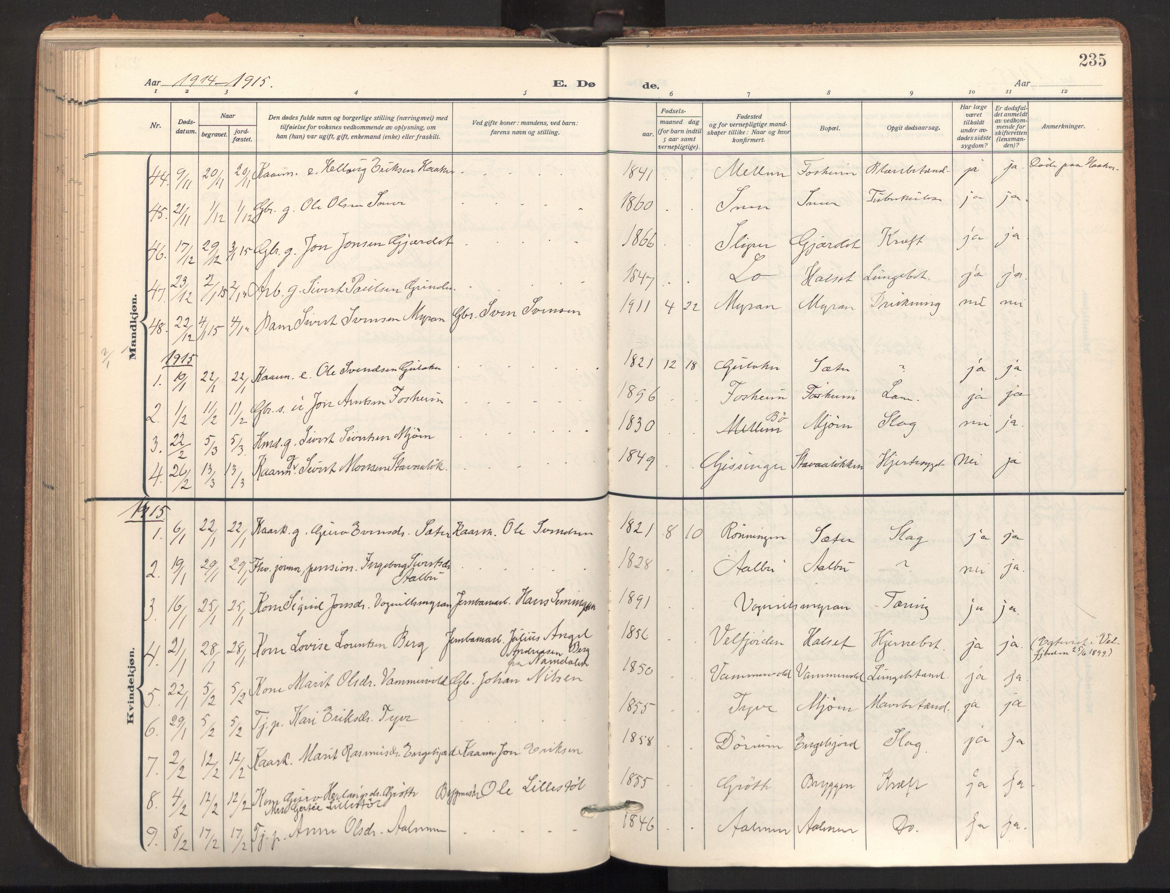 SAT, Ministerialprotokoller, klokkerbøker og fødselsregistre - Sør-Trøndelag, 678/L0909: Ministerialbok nr. 678A17, 1912-1930, s. 235