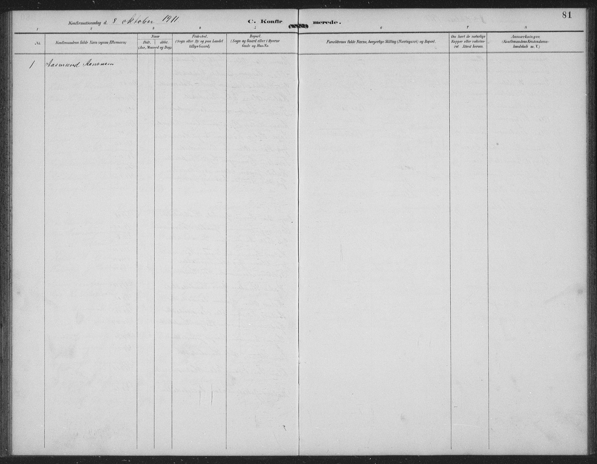 SAKO, Seljord kirkebøker, G/Gc/L0003: Klokkerbok nr. III 3, 1887-1926, s. 81