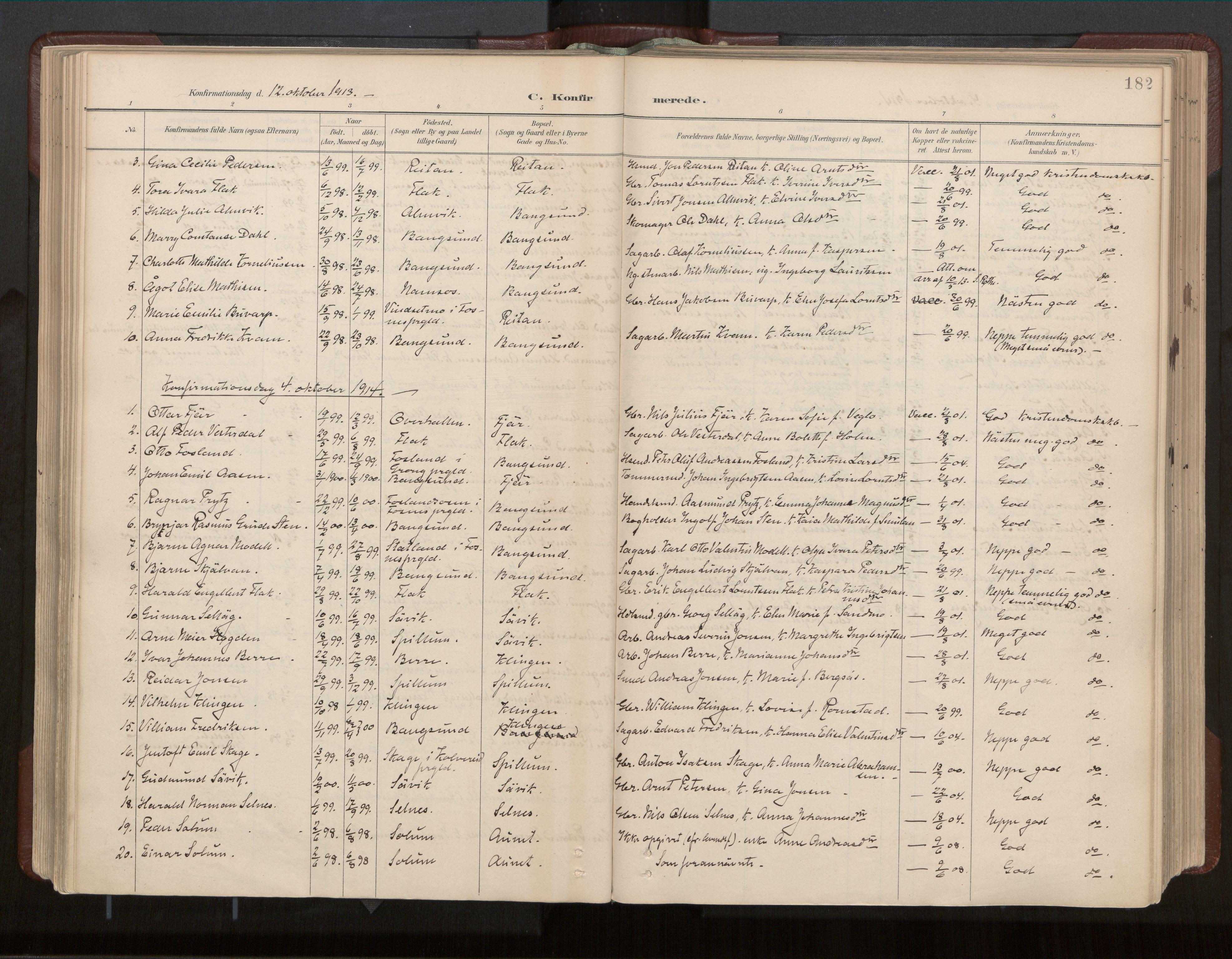 SAT, Ministerialprotokoller, klokkerbøker og fødselsregistre - Nord-Trøndelag, 770/L0589: Ministerialbok nr. 770A03, 1887-1929, s. 182