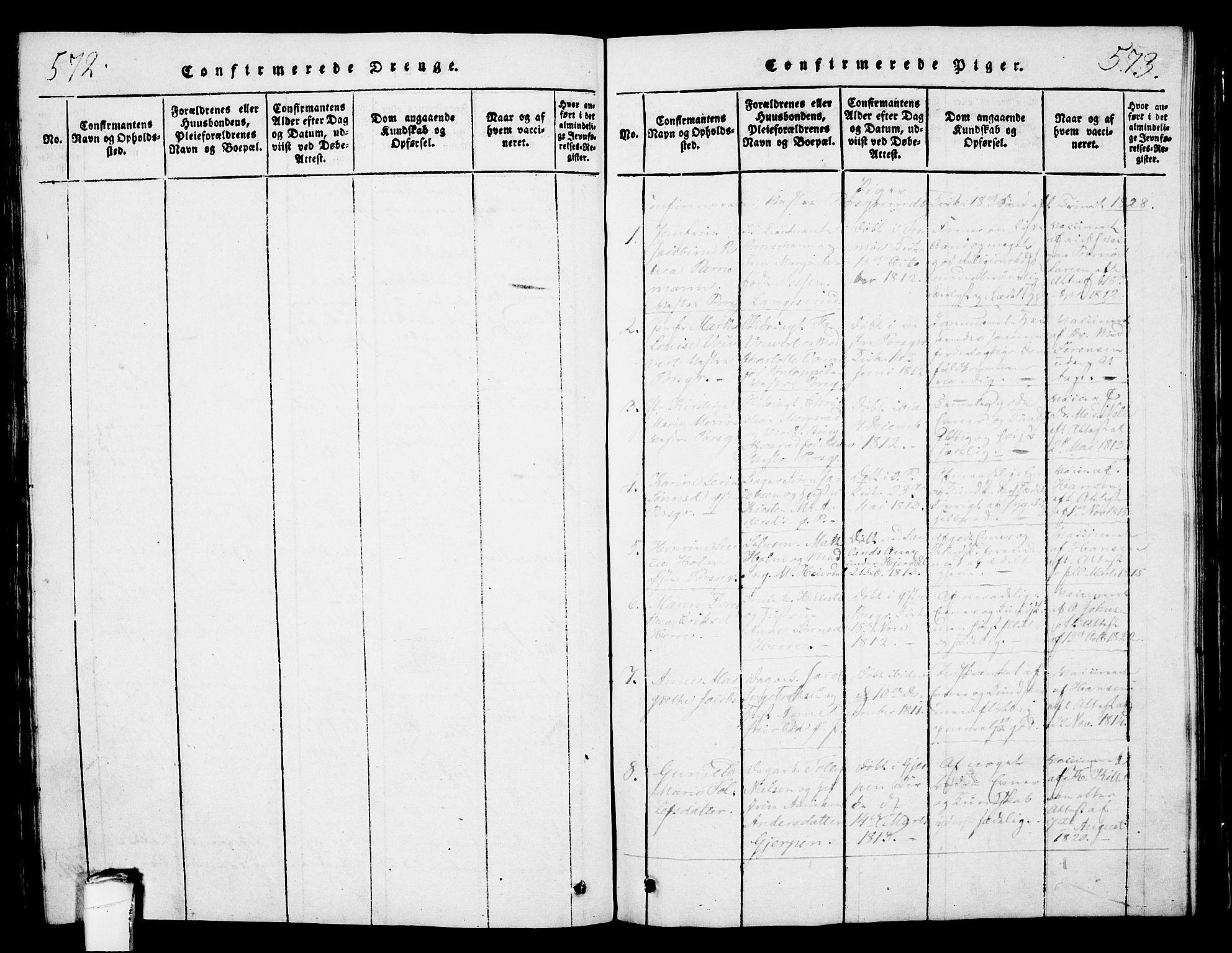 SAKO, Porsgrunn kirkebøker , G/Gb/L0001: Klokkerbok nr. II 1, 1817-1828, s. 572-573