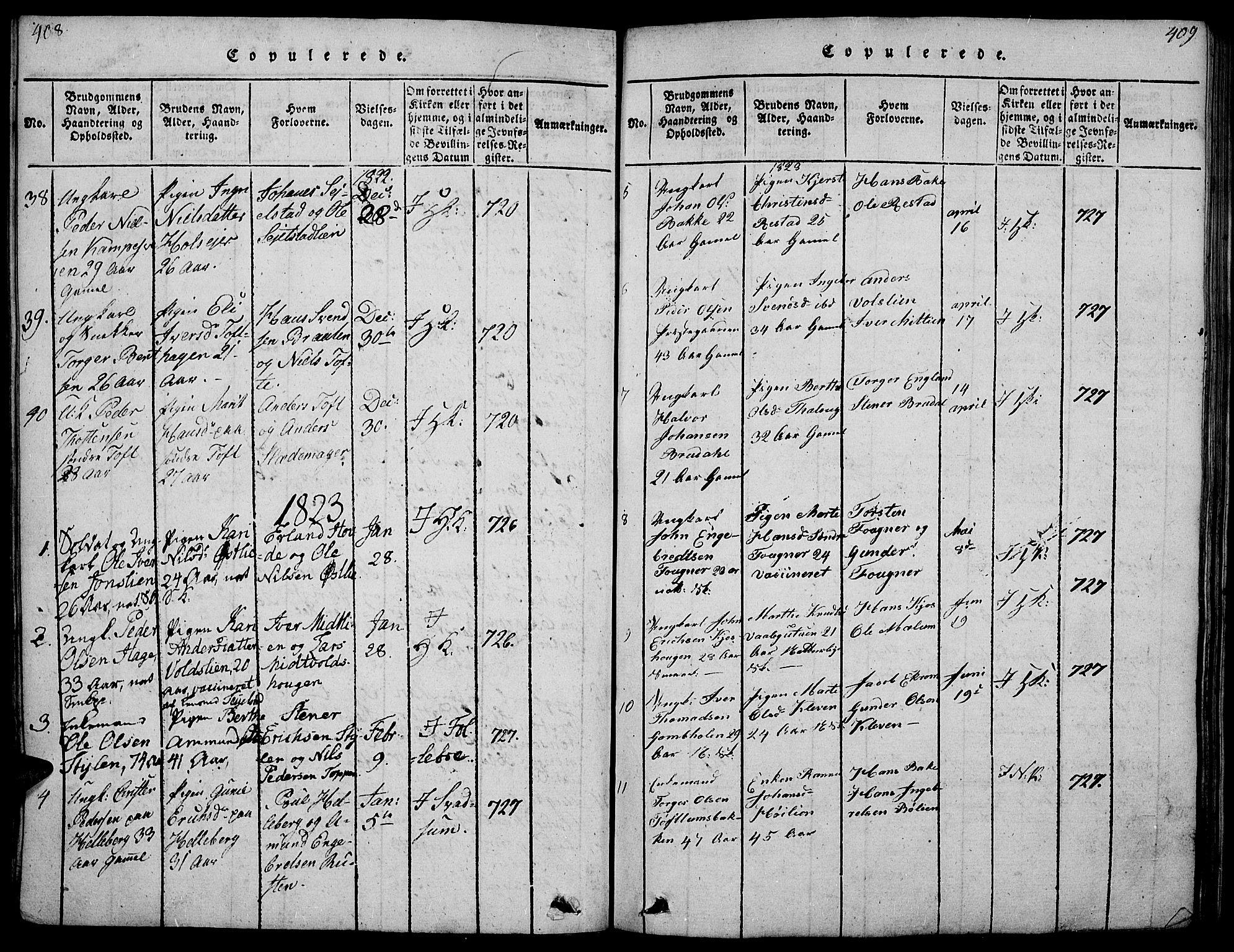 SAH, Gausdal prestekontor, Ministerialbok nr. 5, 1817-1829, s. 408-409