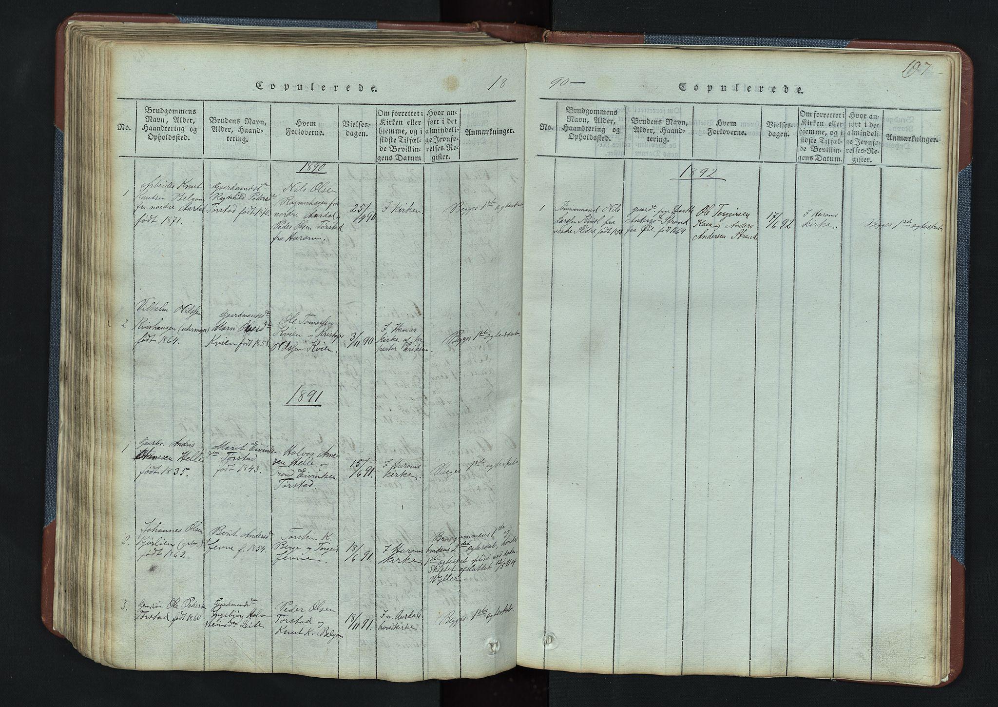 SAH, Vang prestekontor, Valdres, Klokkerbok nr. 3, 1814-1892, s. 197
