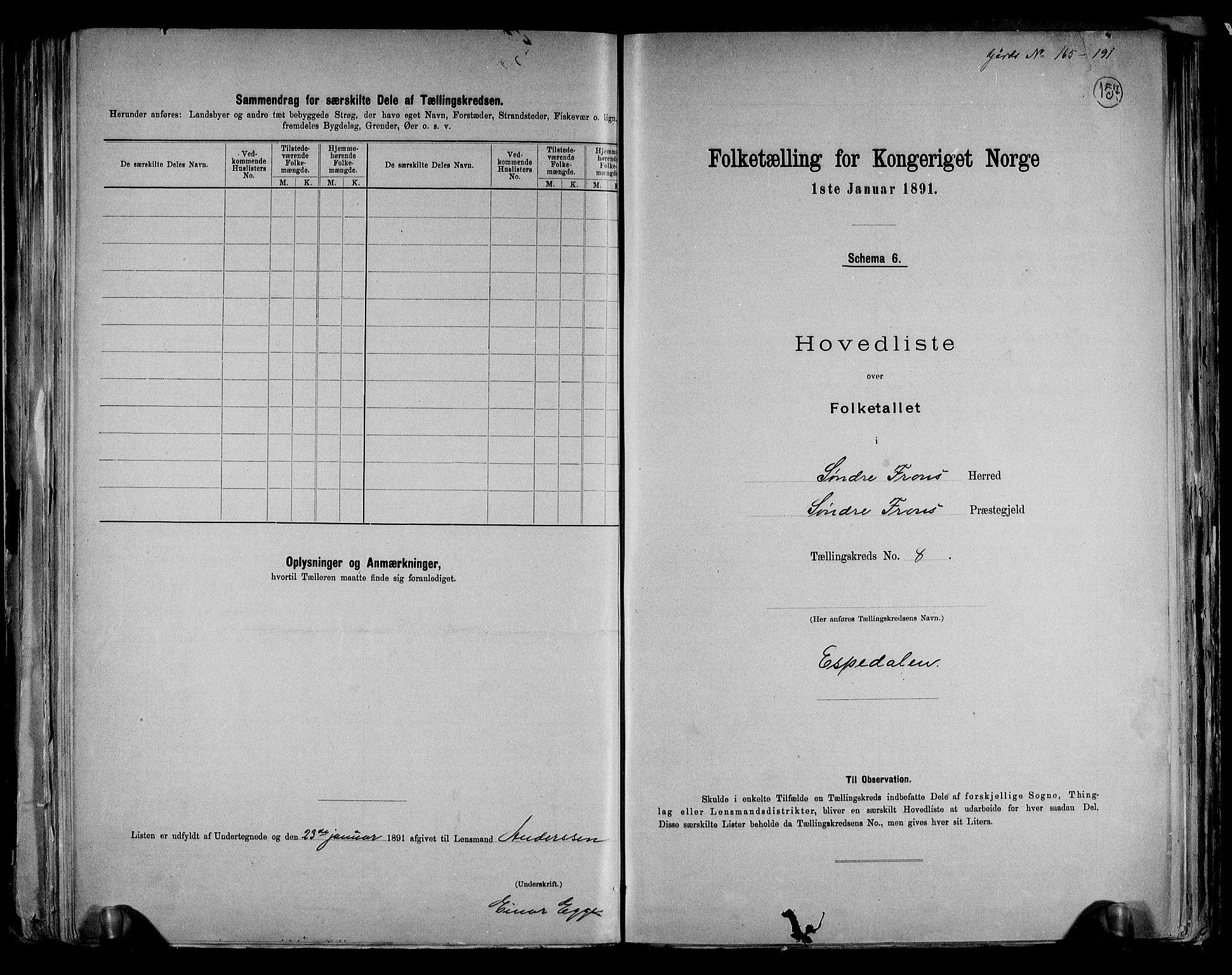 RA, Folketelling 1891 for 0519 Sør-Fron herred, 1891, s. 20