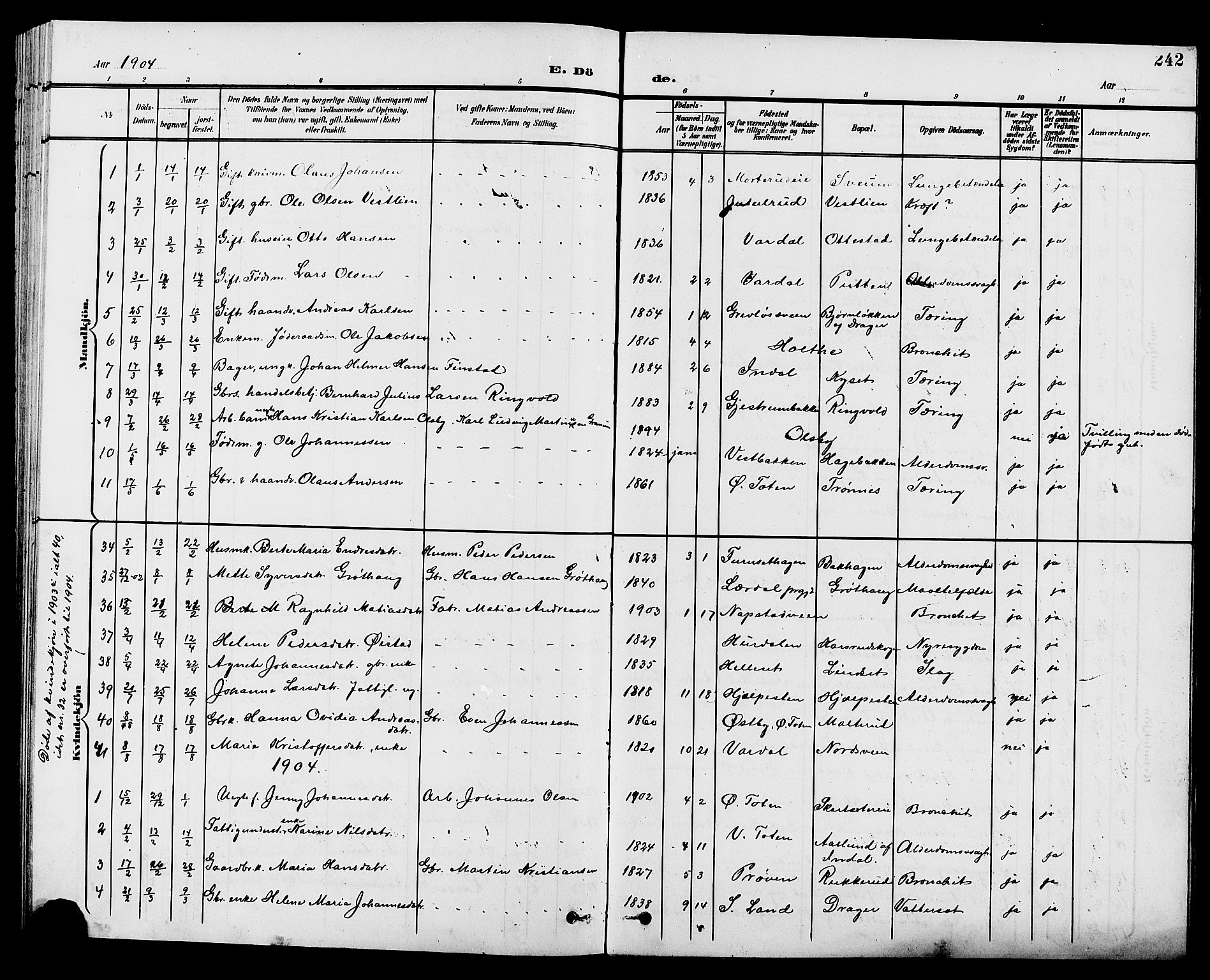 SAH, Vestre Toten prestekontor, H/Ha/Hab/L0010: Klokkerbok nr. 10, 1900-1912, s. 242