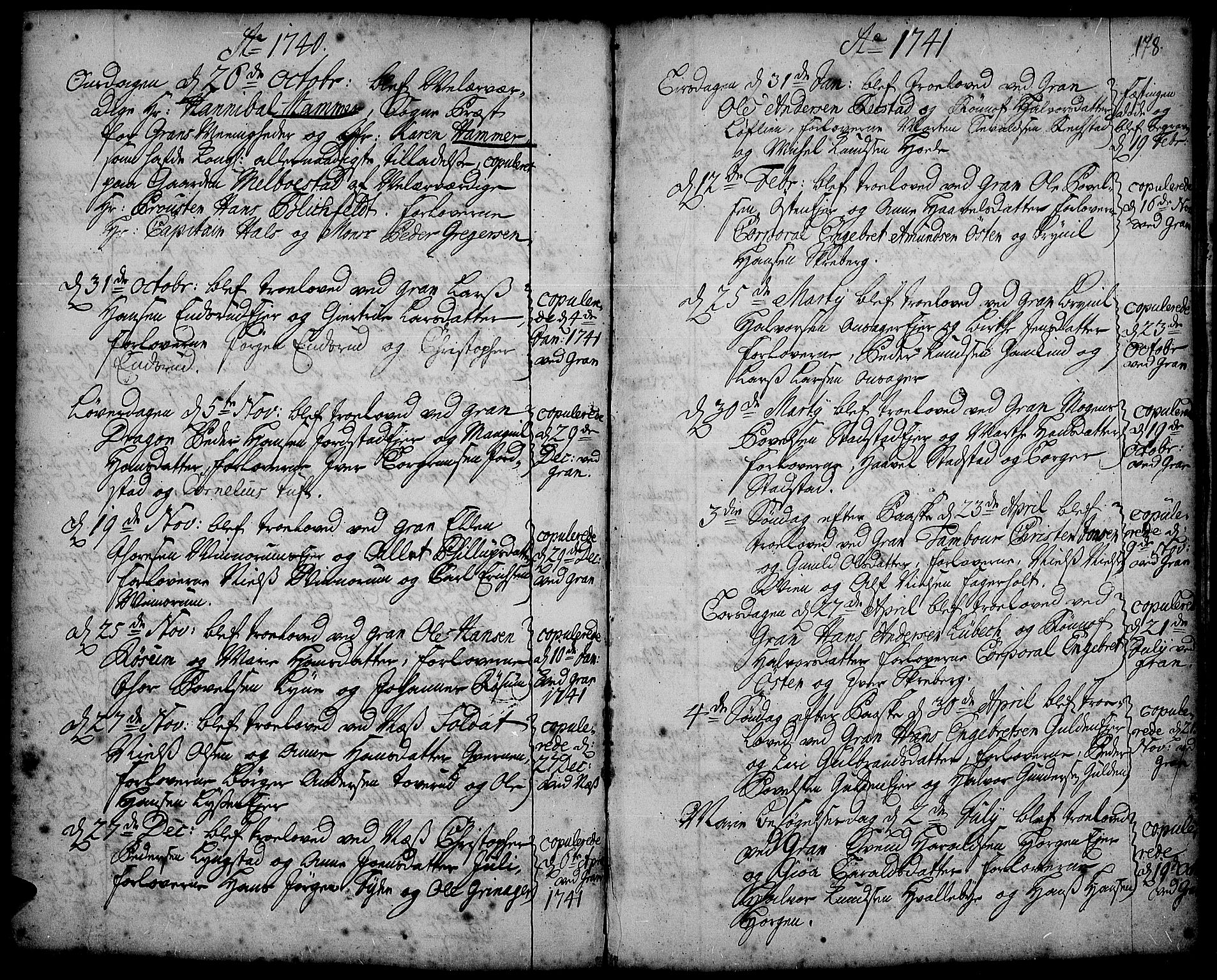 SAH, Gran prestekontor, Ministerialbok nr. 2, 1732-1744, s. 178