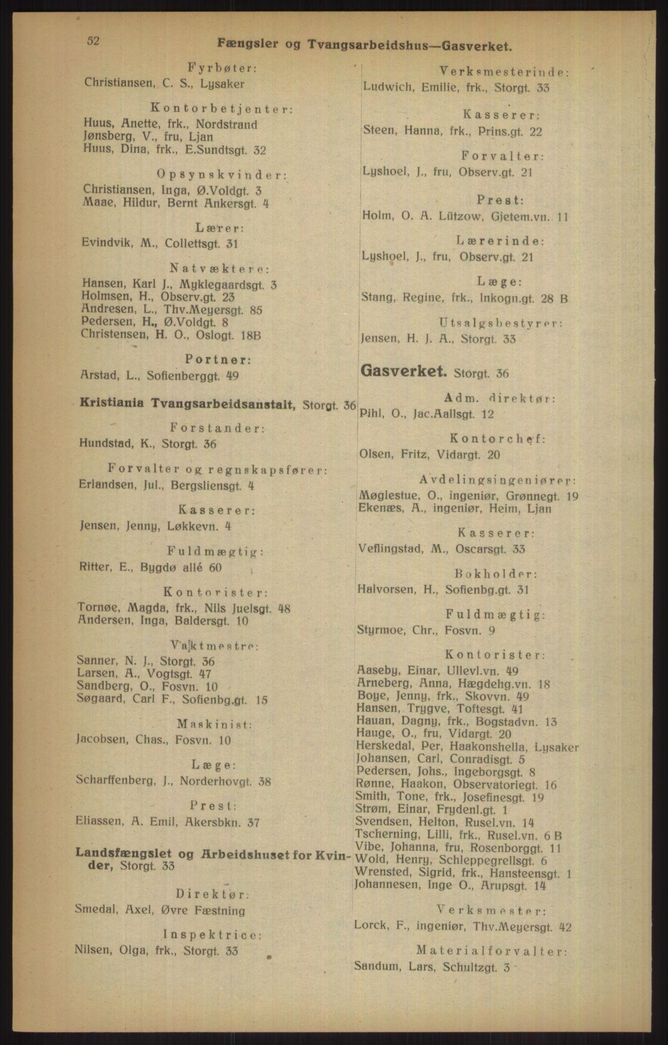 RA, Kristiania adressebok (publikasjon)*, 1915, s. 52