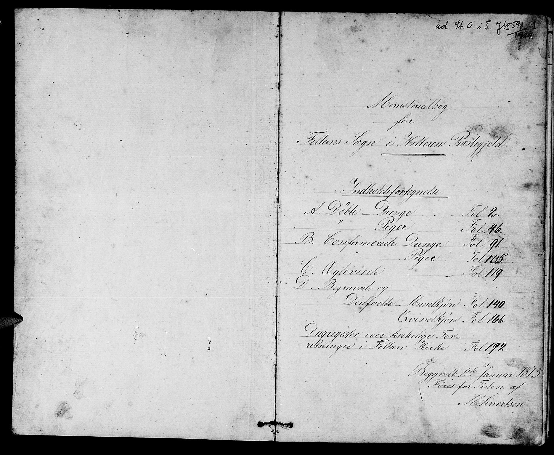 SAT, Ministerialprotokoller, klokkerbøker og fødselsregistre - Sør-Trøndelag, 637/L0561: Klokkerbok nr. 637C02, 1873-1882, s. 1
