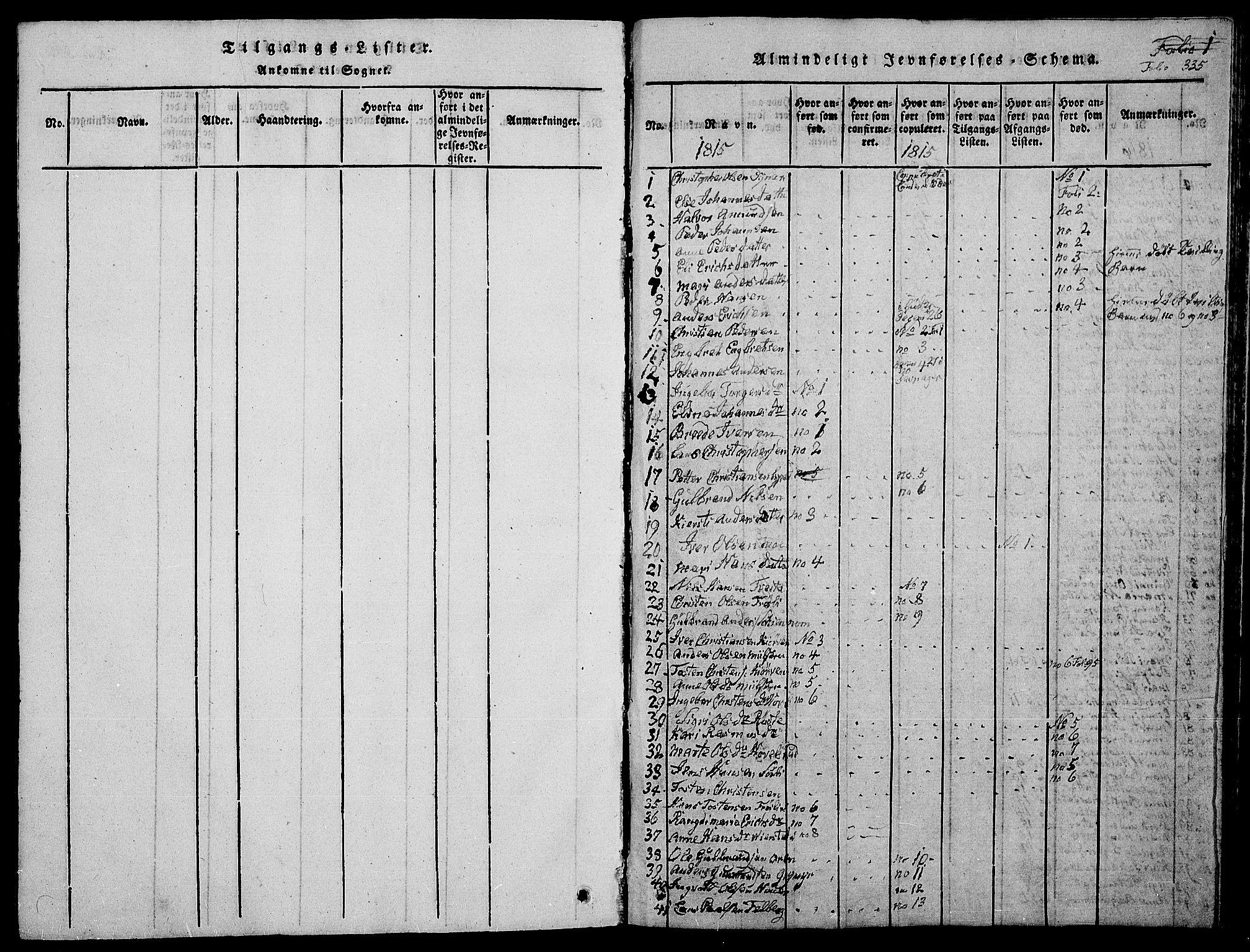 SAH, Jevnaker prestekontor, Klokkerbok nr. 1, 1815-1837, s. 335