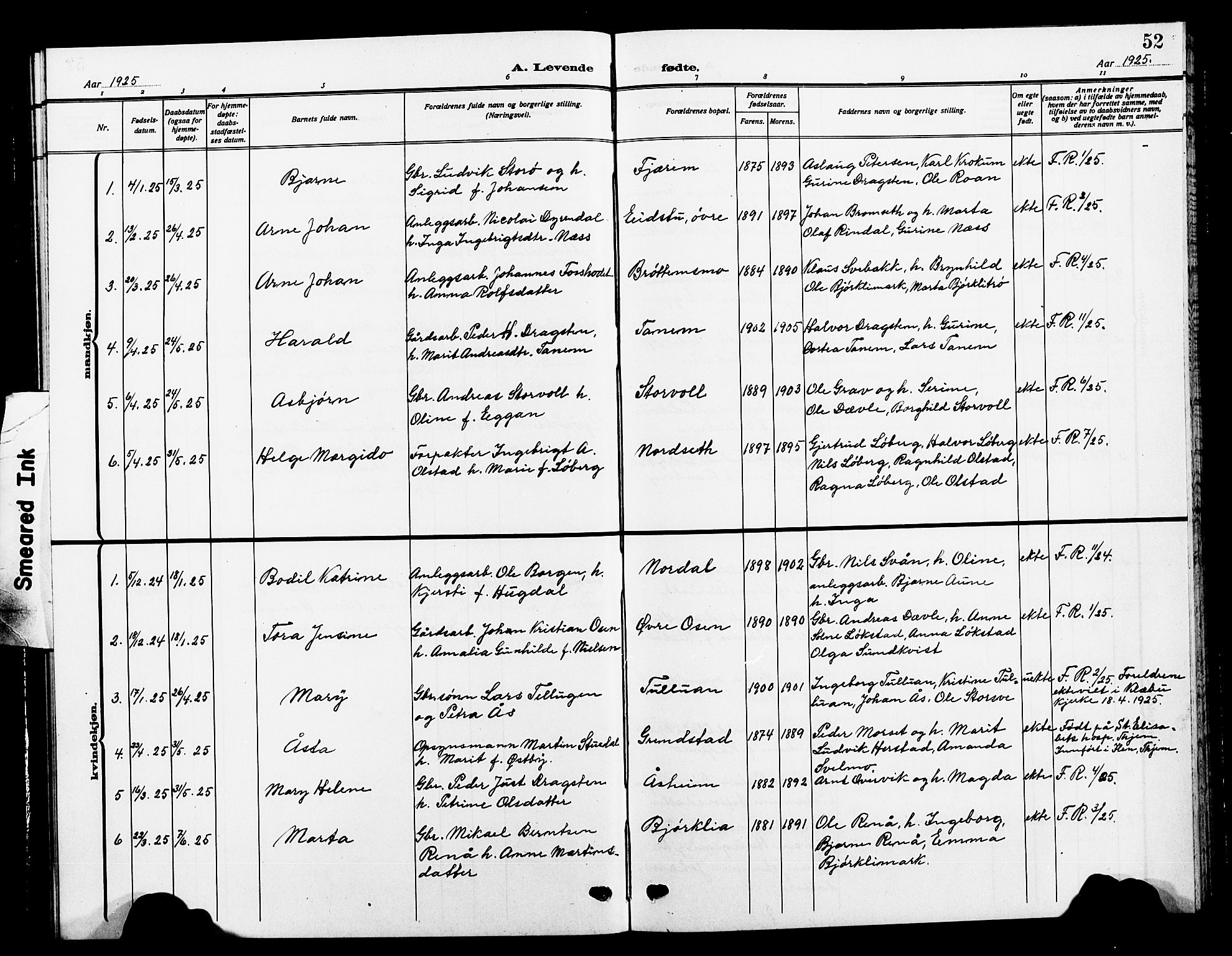 SAT, Ministerialprotokoller, klokkerbøker og fødselsregistre - Sør-Trøndelag, 618/L0453: Klokkerbok nr. 618C04, 1907-1925, s. 52
