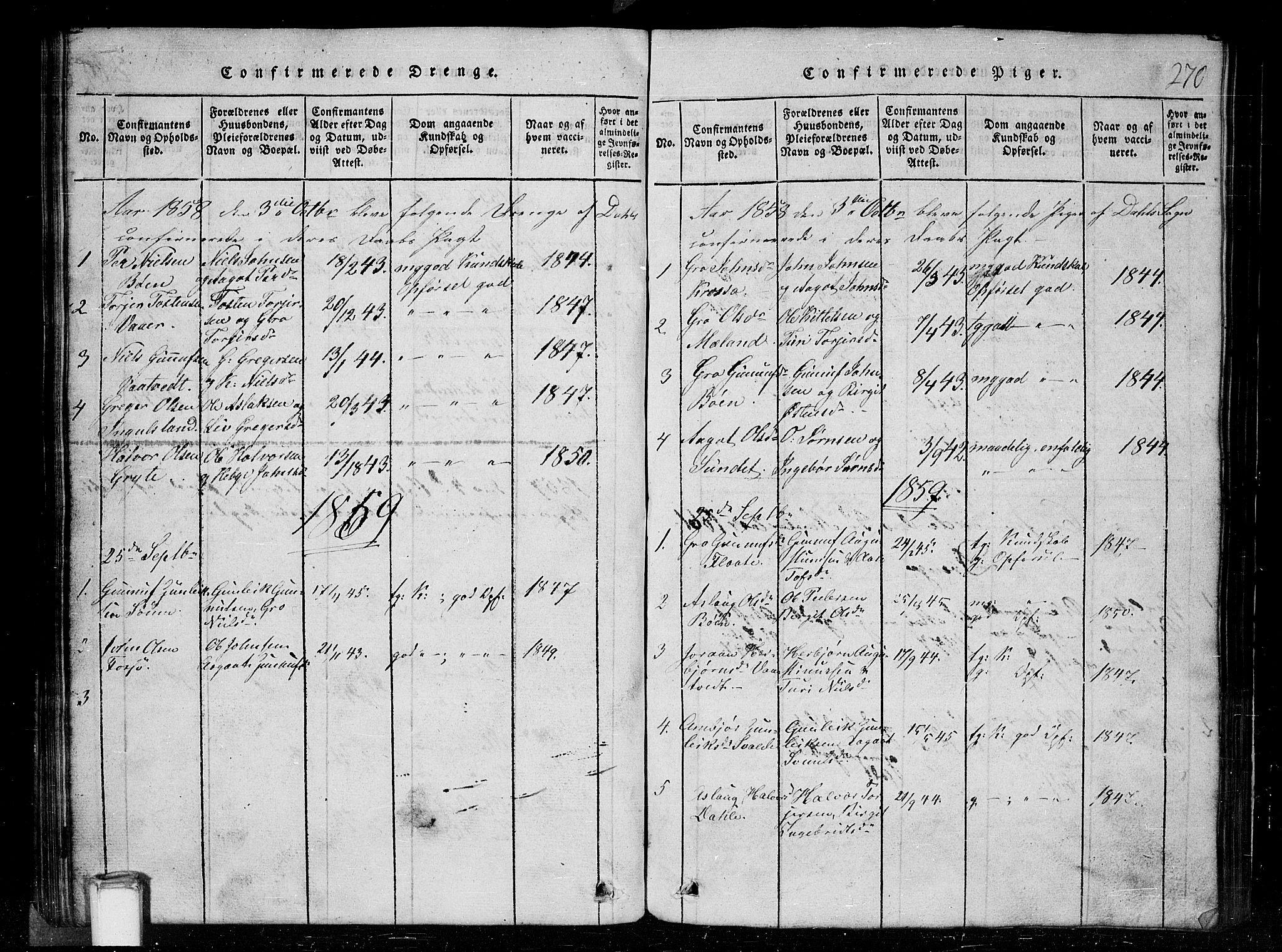 SAKO, Tinn kirkebøker, G/Gc/L0001: Klokkerbok nr. III 1, 1815-1879, s. 270